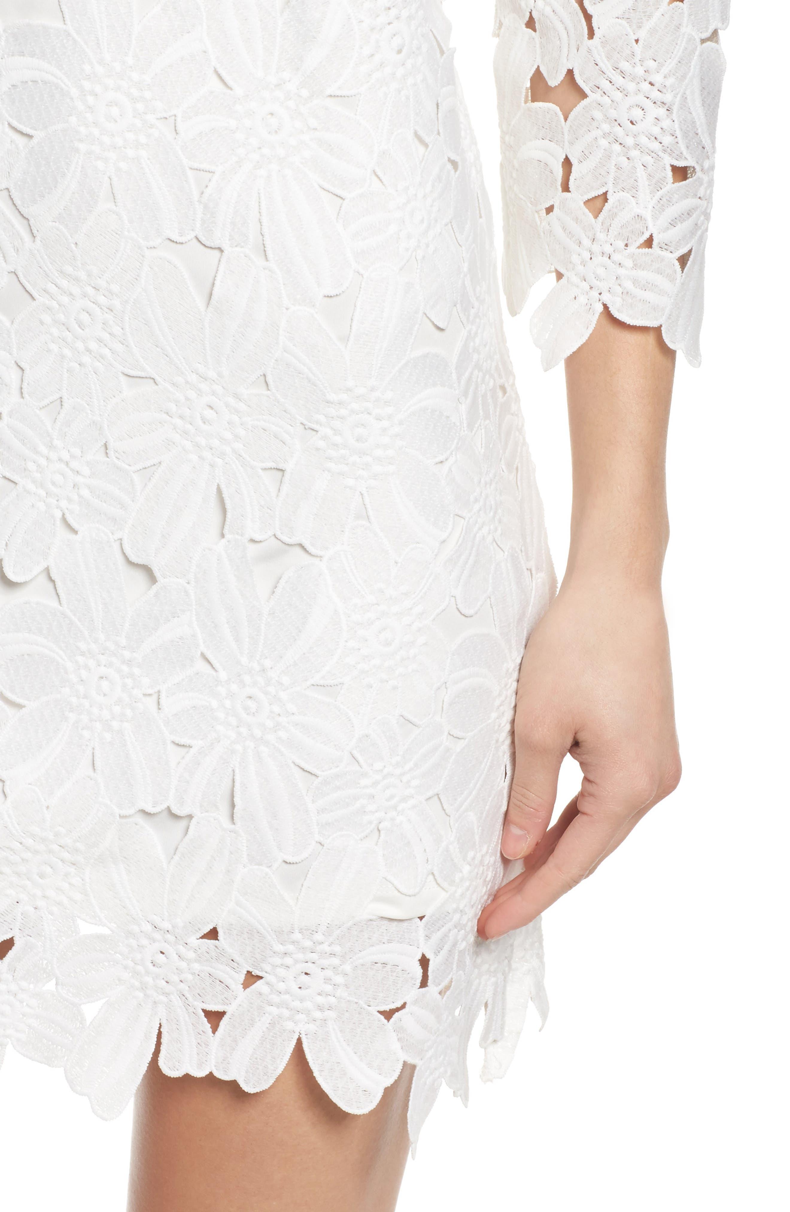 Belza Floral Lace Shift Dress,                             Alternate thumbnail 4, color,                             100