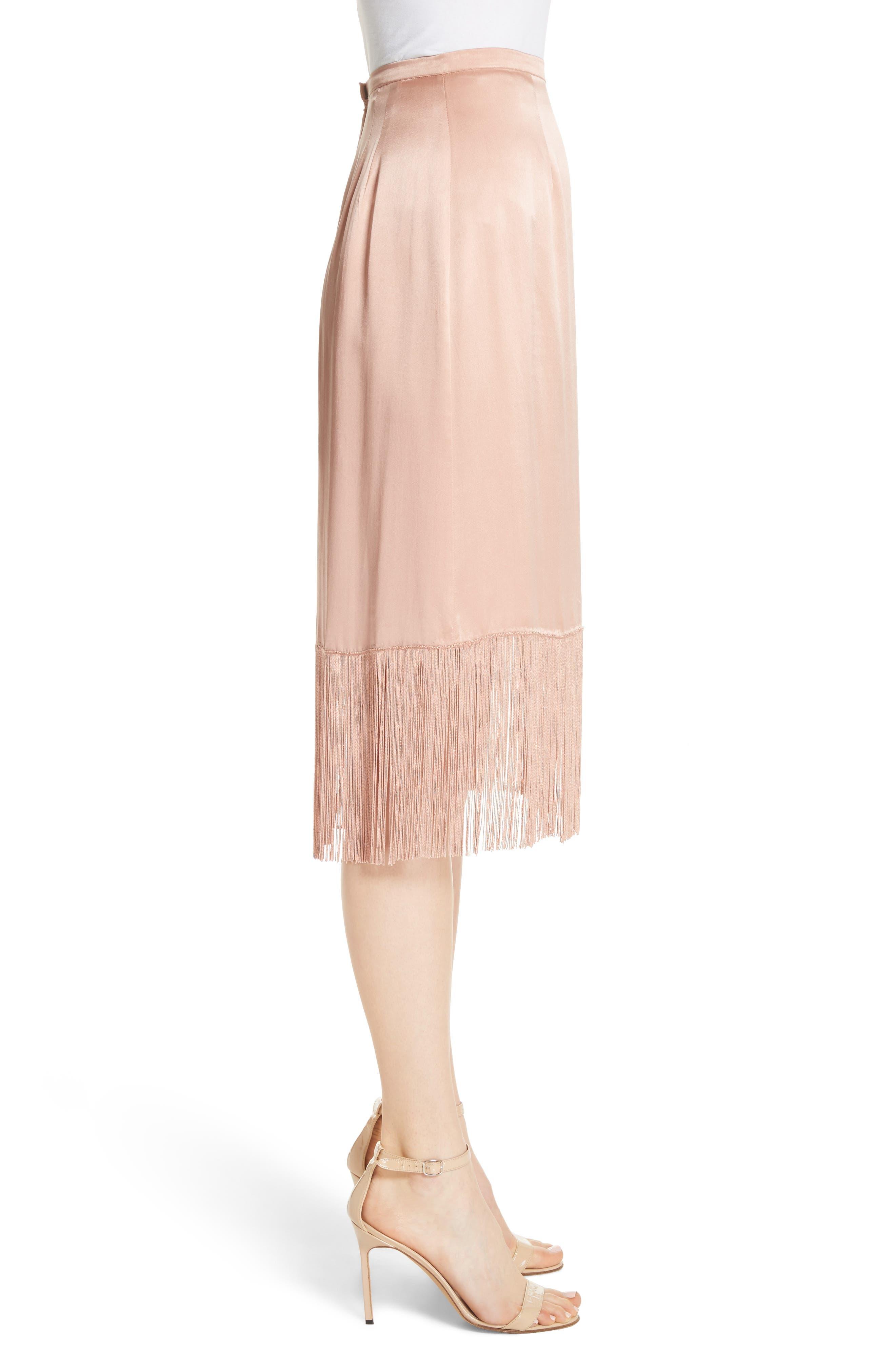 Fringe Silk Skirt,                             Alternate thumbnail 3, color,                             657