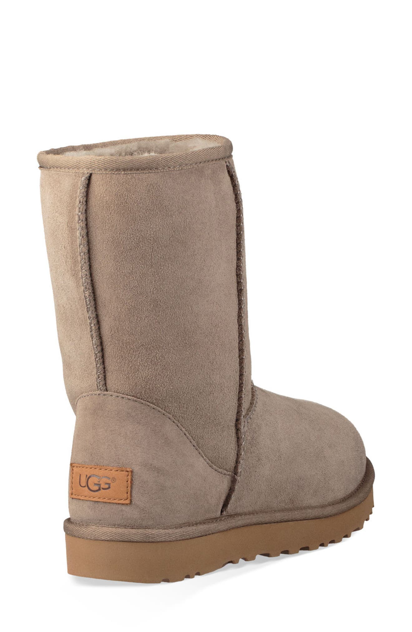 'Classic II' Genuine Shearling Lined Short Boot,                             Alternate thumbnail 3, color,                             BRINDLE SUEDE