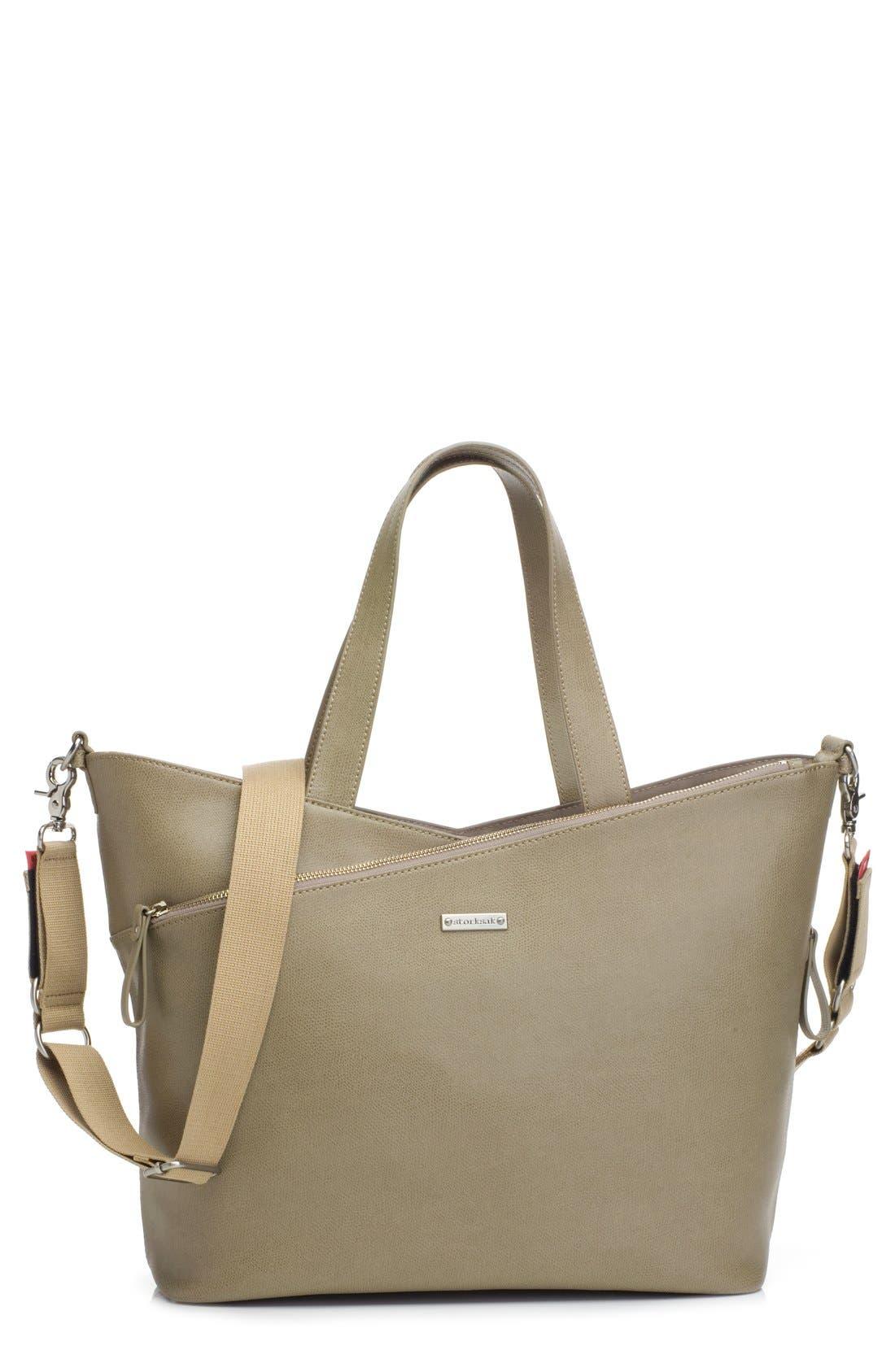 'Lucinda' Diaper Bag Leather Tote,                             Main thumbnail 2, color,
