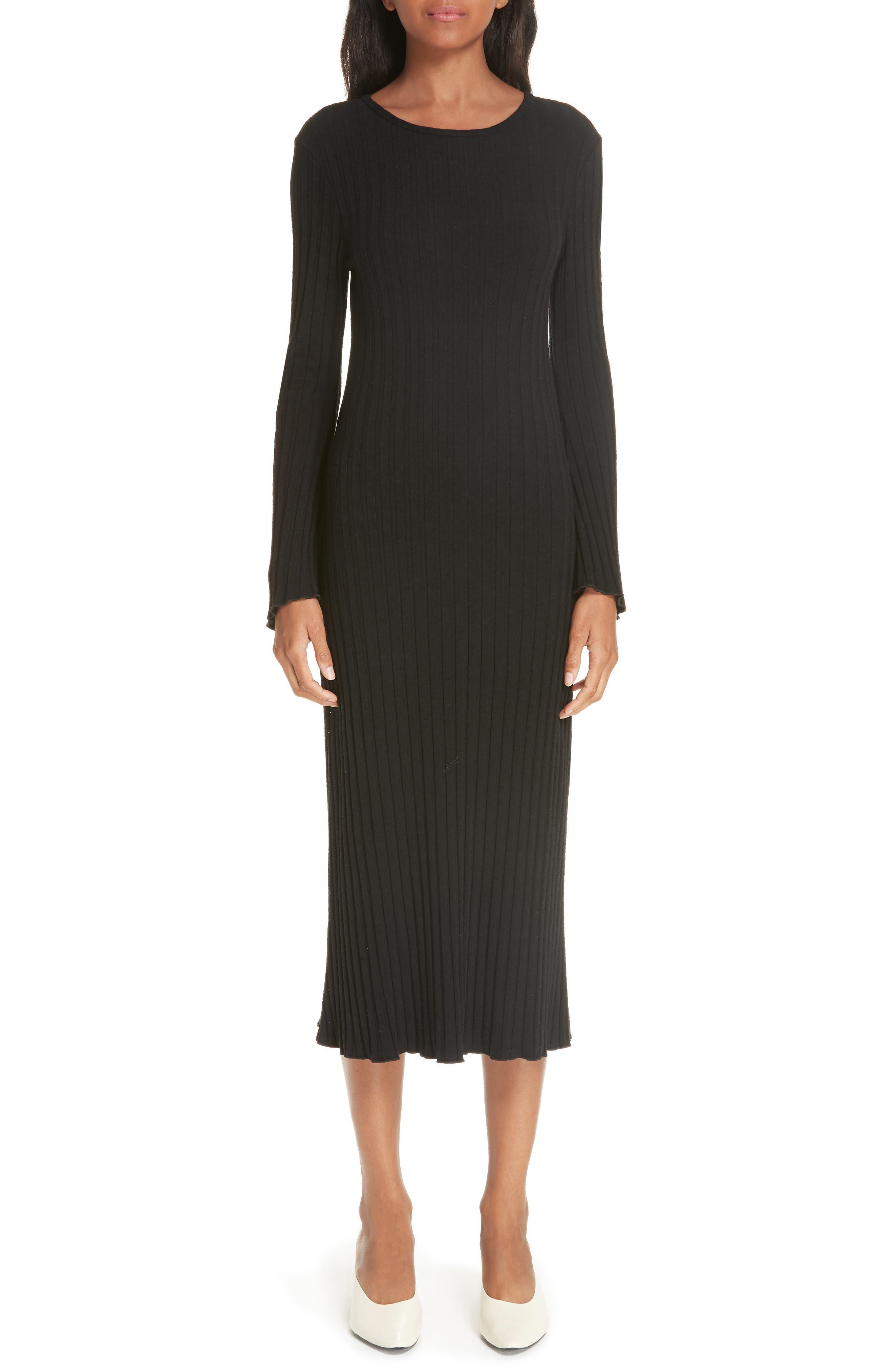 Rib Dress,                             Main thumbnail 1, color,                             BLACK
