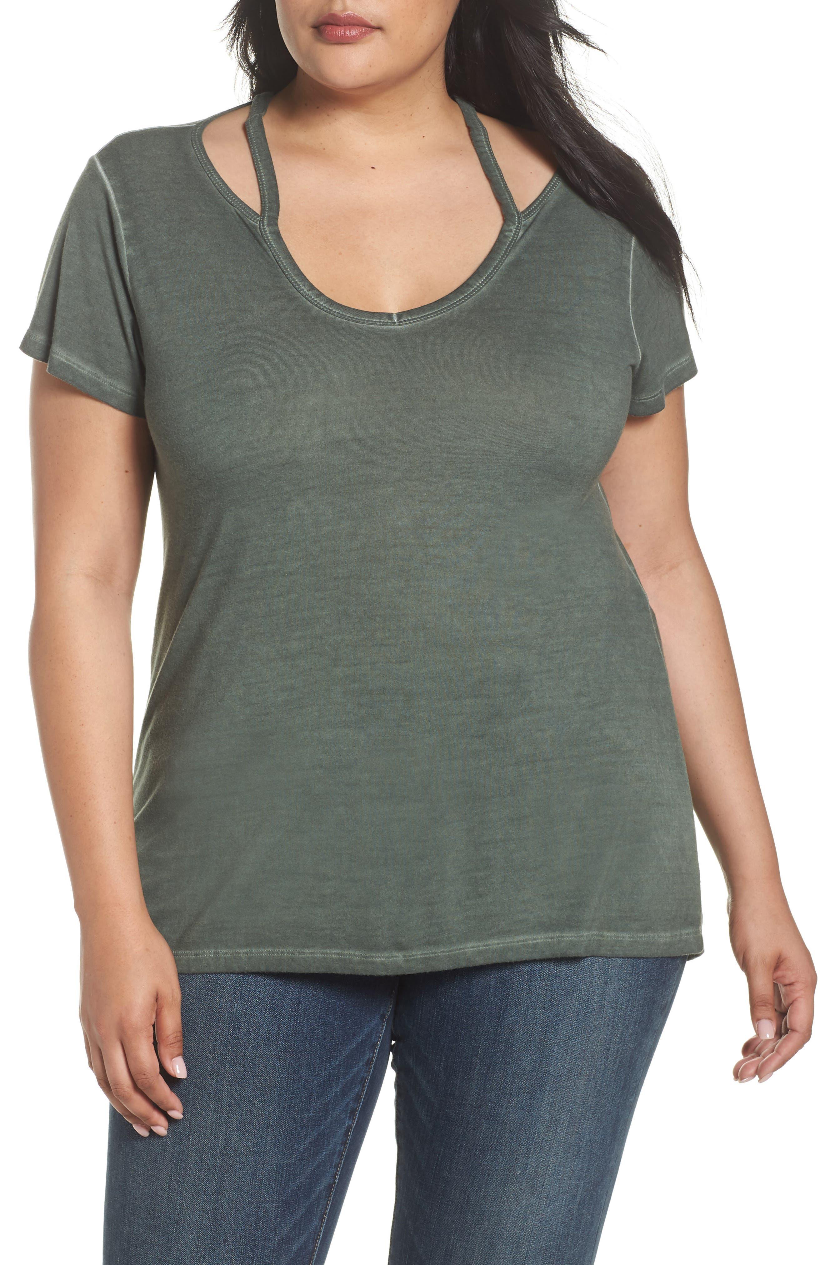 Oil Dye Split Shoulder Top,                         Main,                         color,