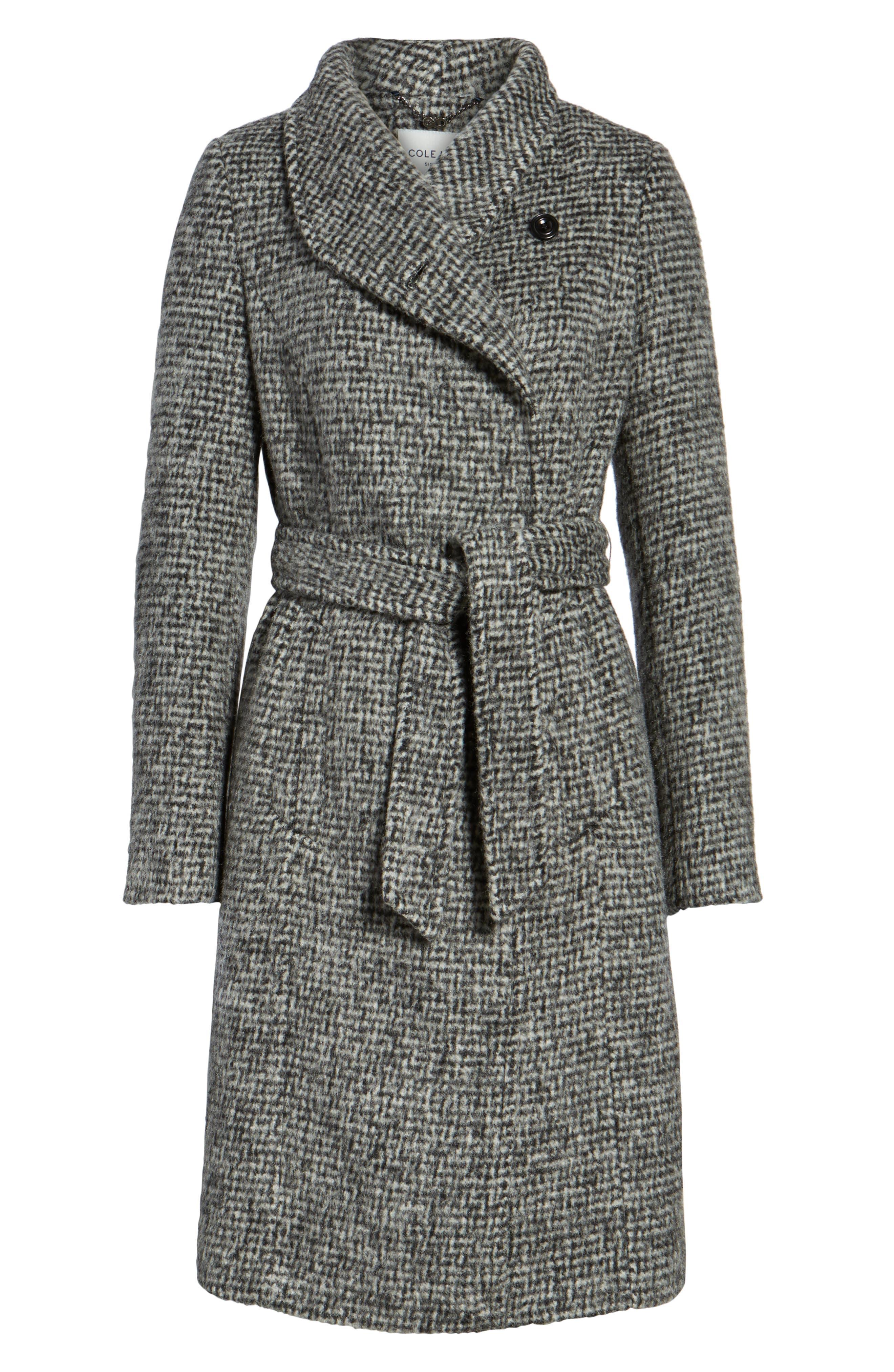 Wool Shawl Collar Wrap Coat,                             Alternate thumbnail 5, color,                             012