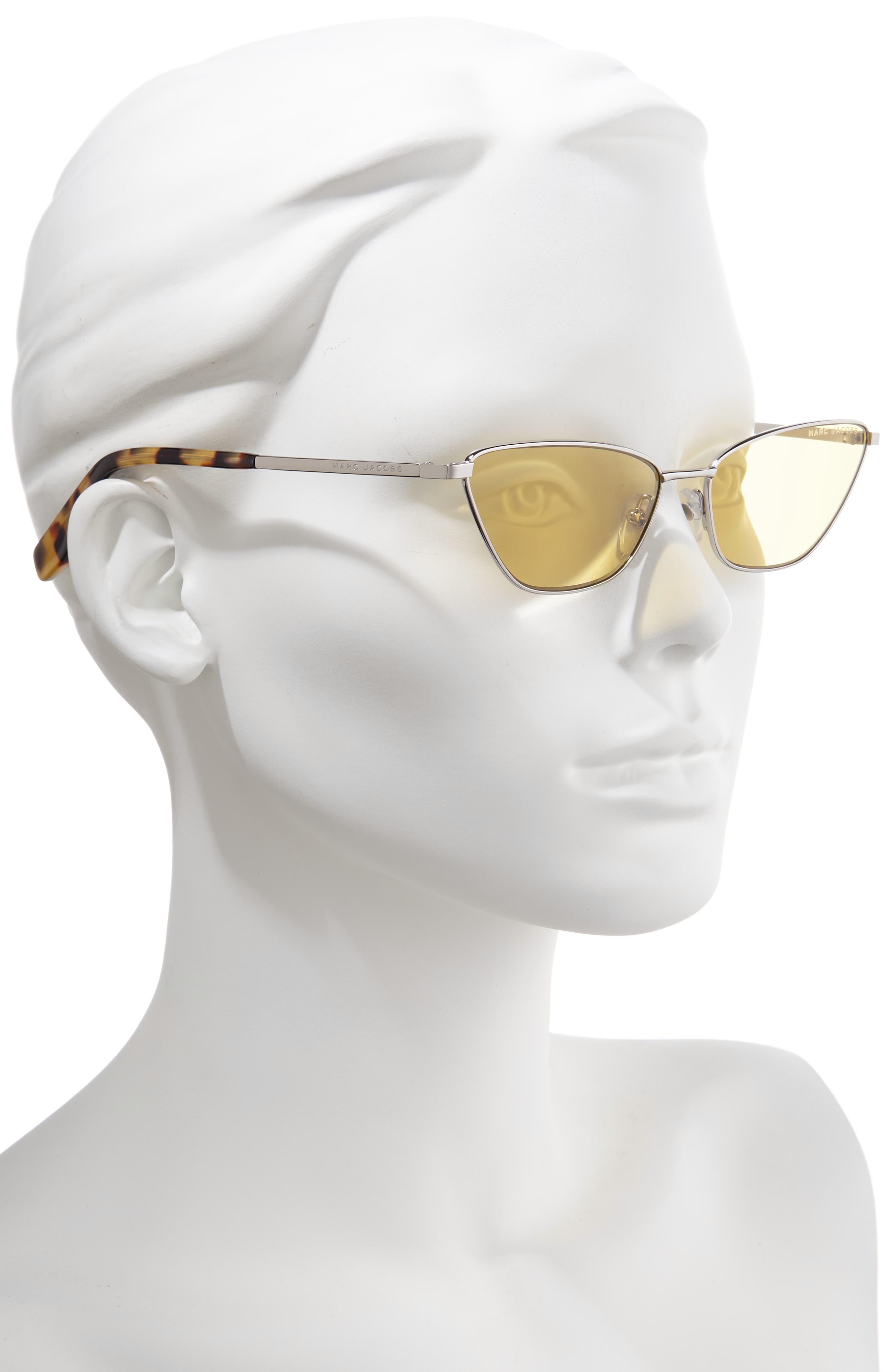 57mm Cat Eye Sunglasses,                             Alternate thumbnail 2, color,                             SILVER/ YELLOW