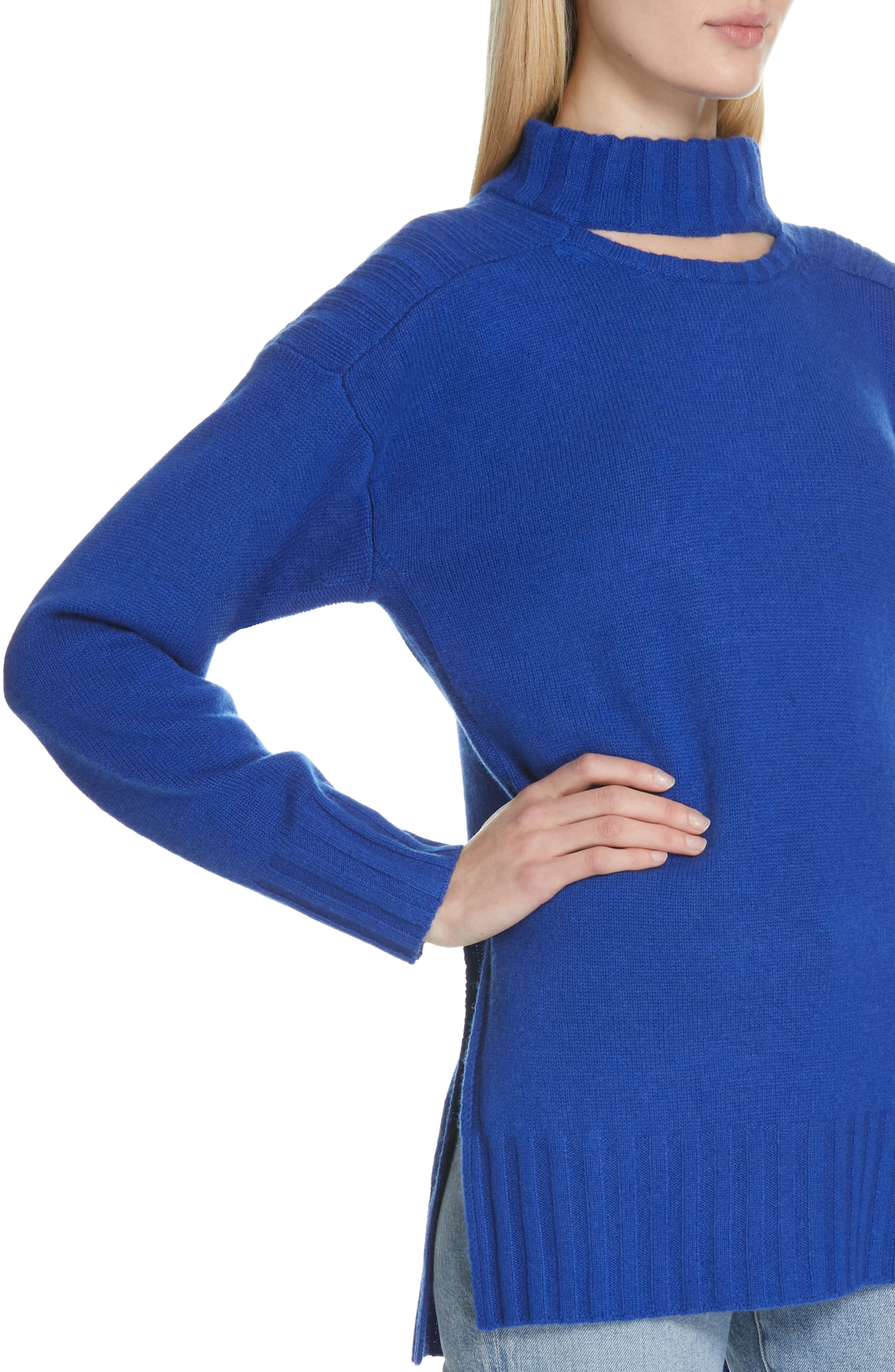 Stratford Wool & Cashmere Sweater,                             Alternate thumbnail 4, color,                             HYPER BLUE