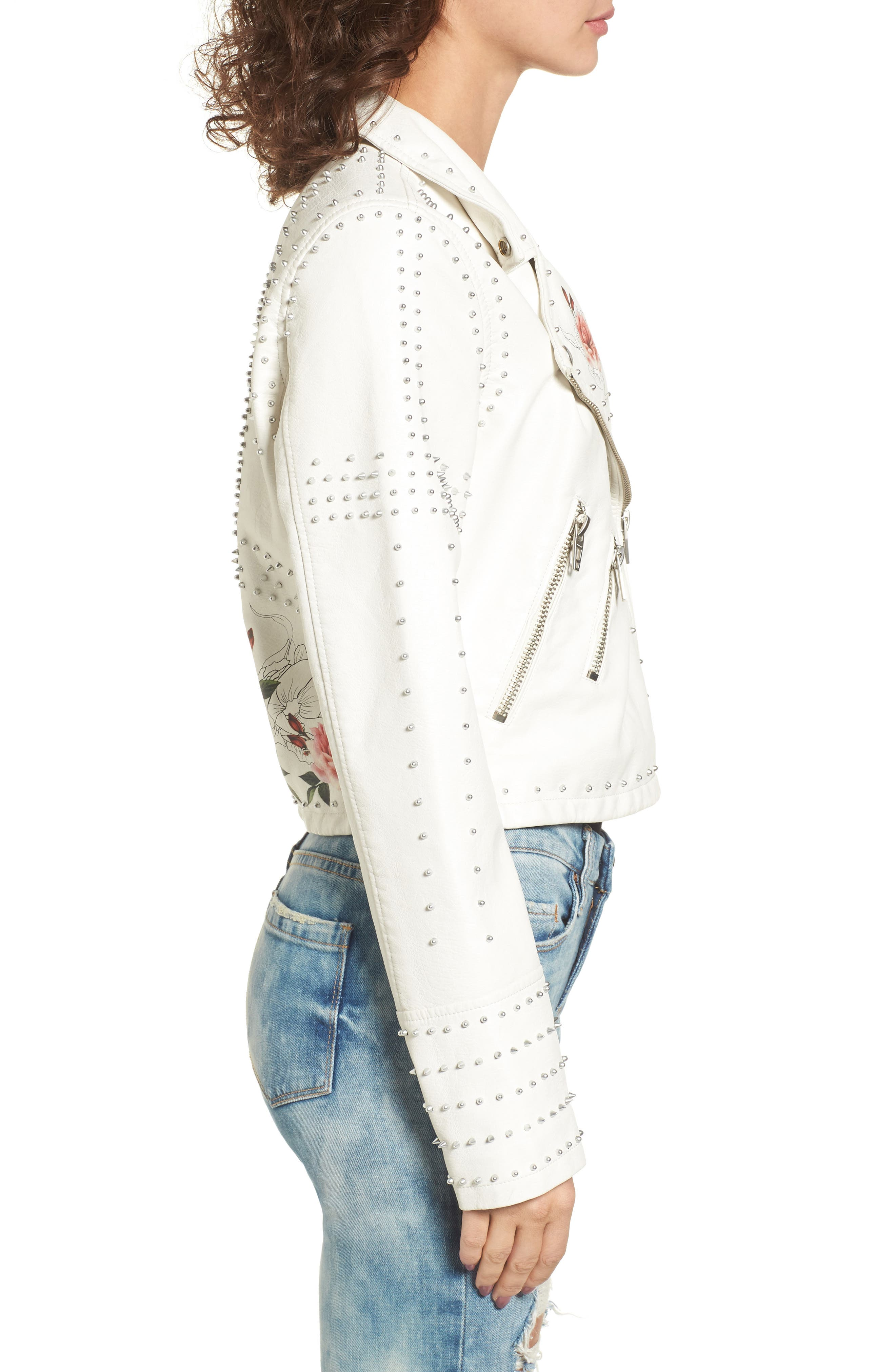 Printed Studded Moto Jacket,                             Alternate thumbnail 6, color,