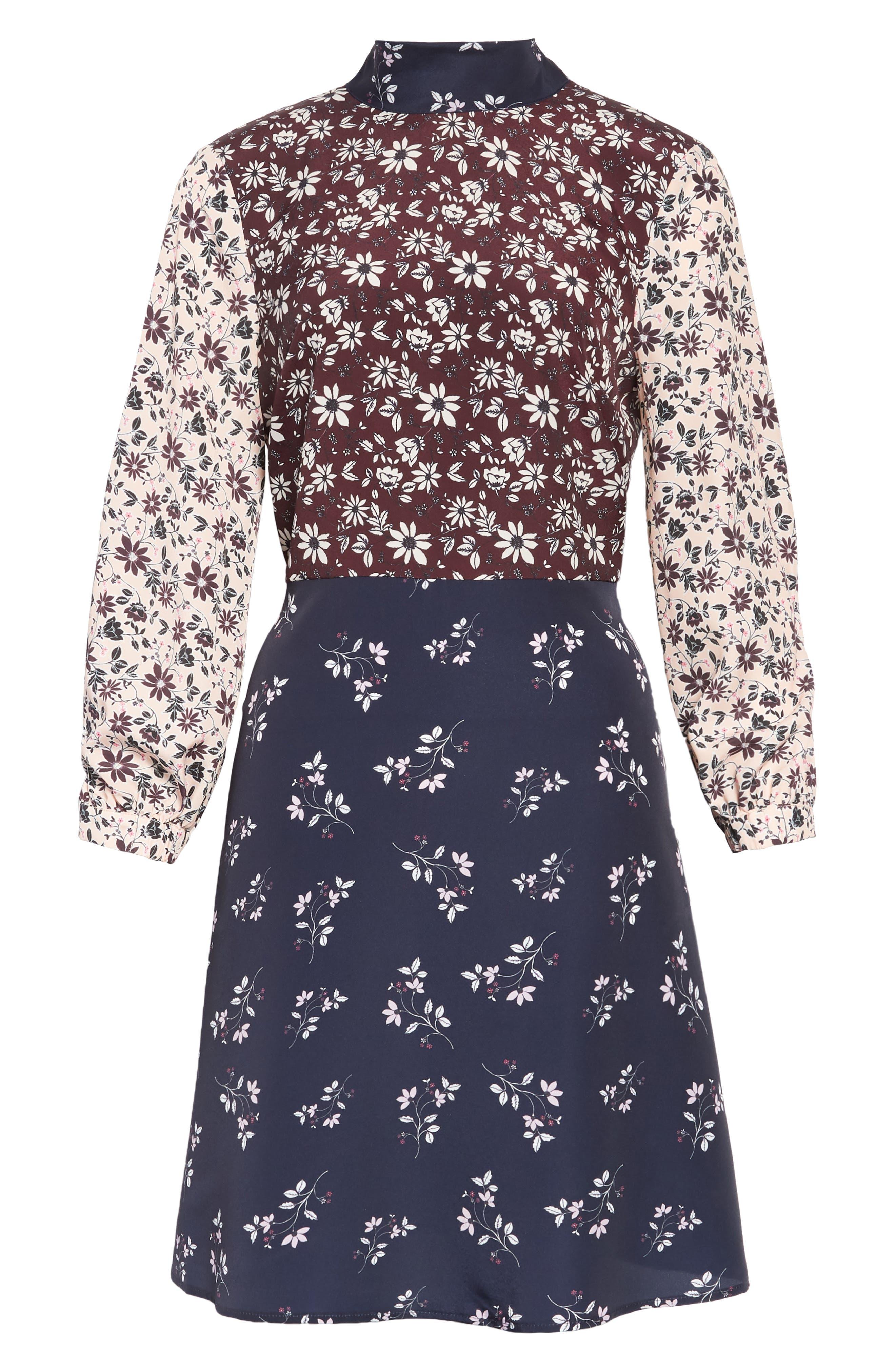 Colorblock Floral Woven Dress,                             Alternate thumbnail 7, color,                             400
