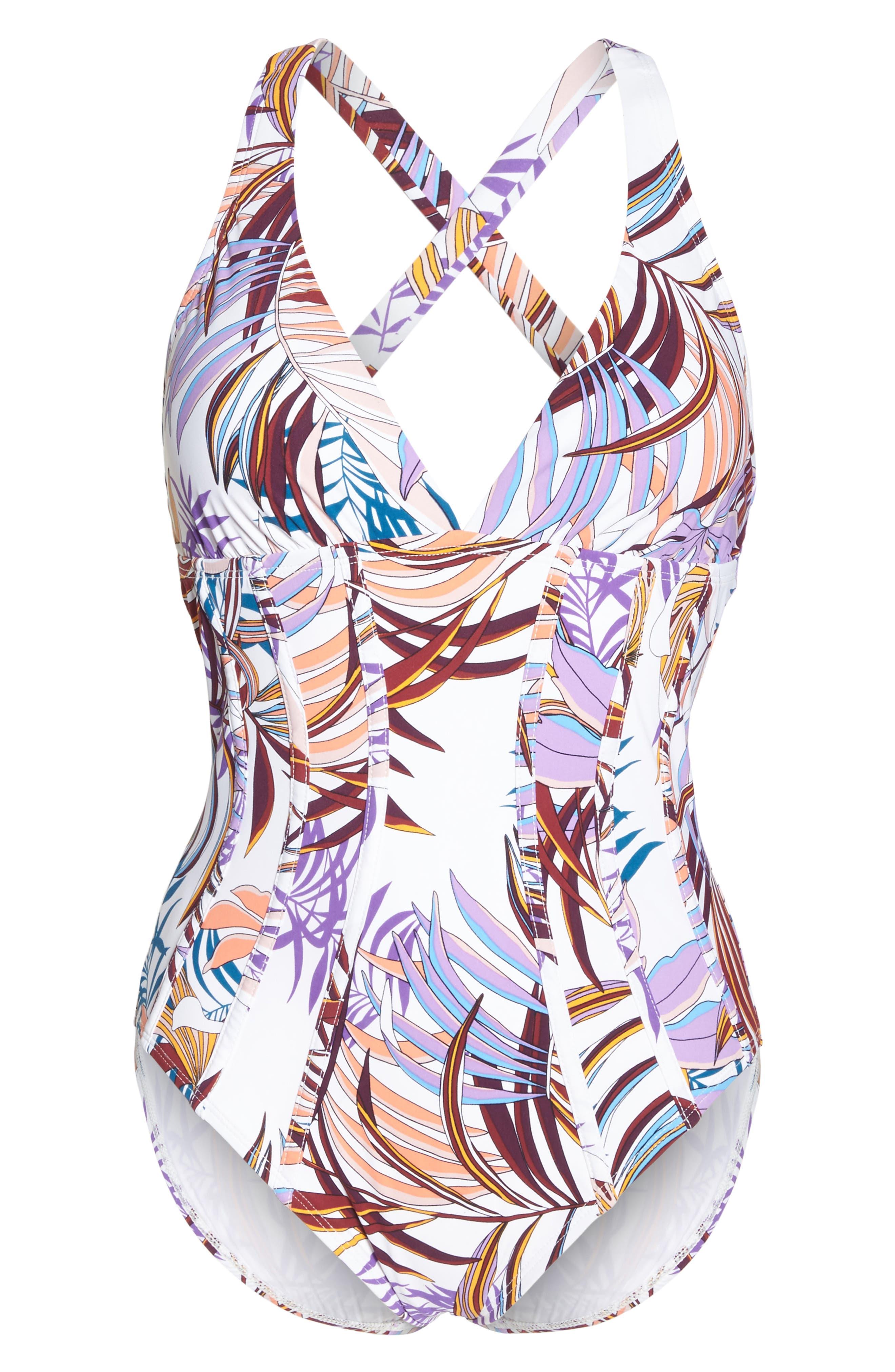Bontanical Crossback One-Piece Swimsuit,                             Alternate thumbnail 6, color,                             100