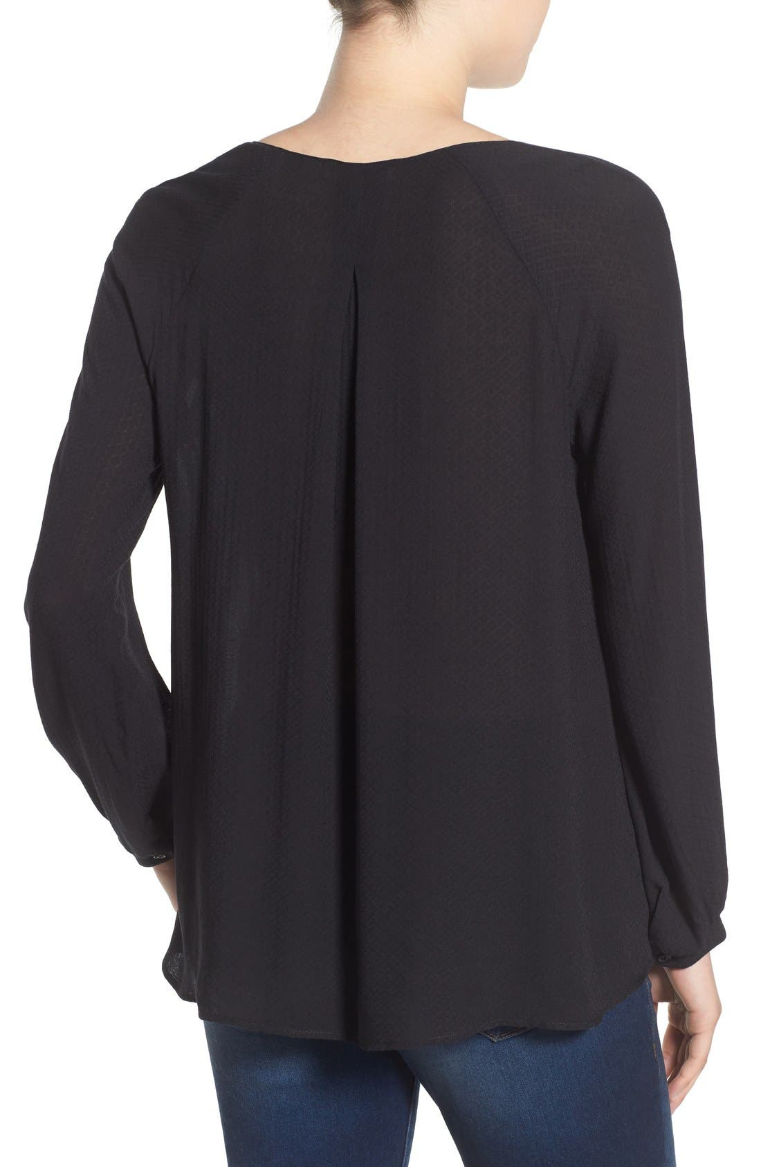 ---,                             Strappy Long Sleeve Woven Blouse,                             Alternate thumbnail 5, color,                             001