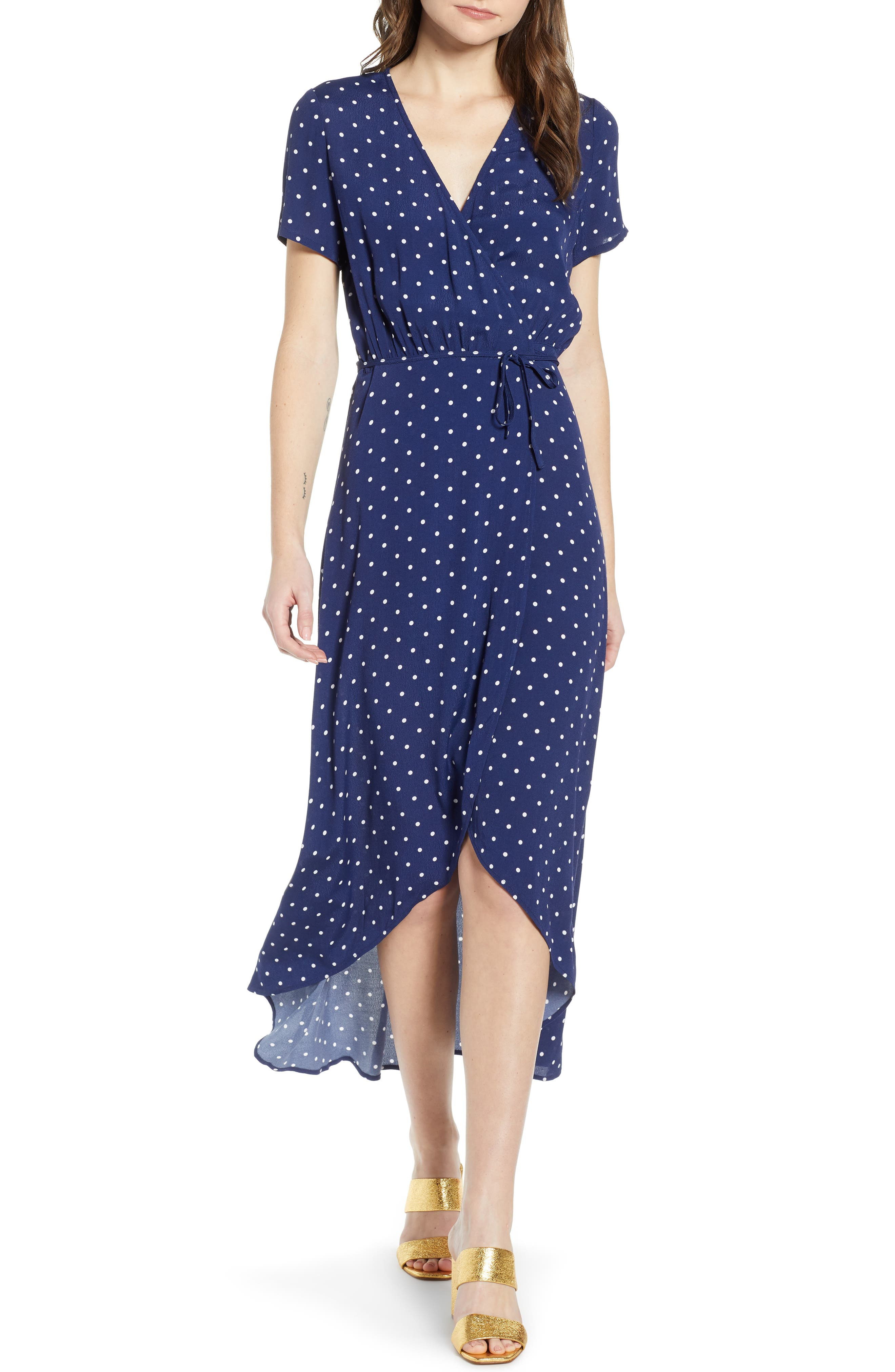 Leith Everyday High/low Wrap Dress, Blue