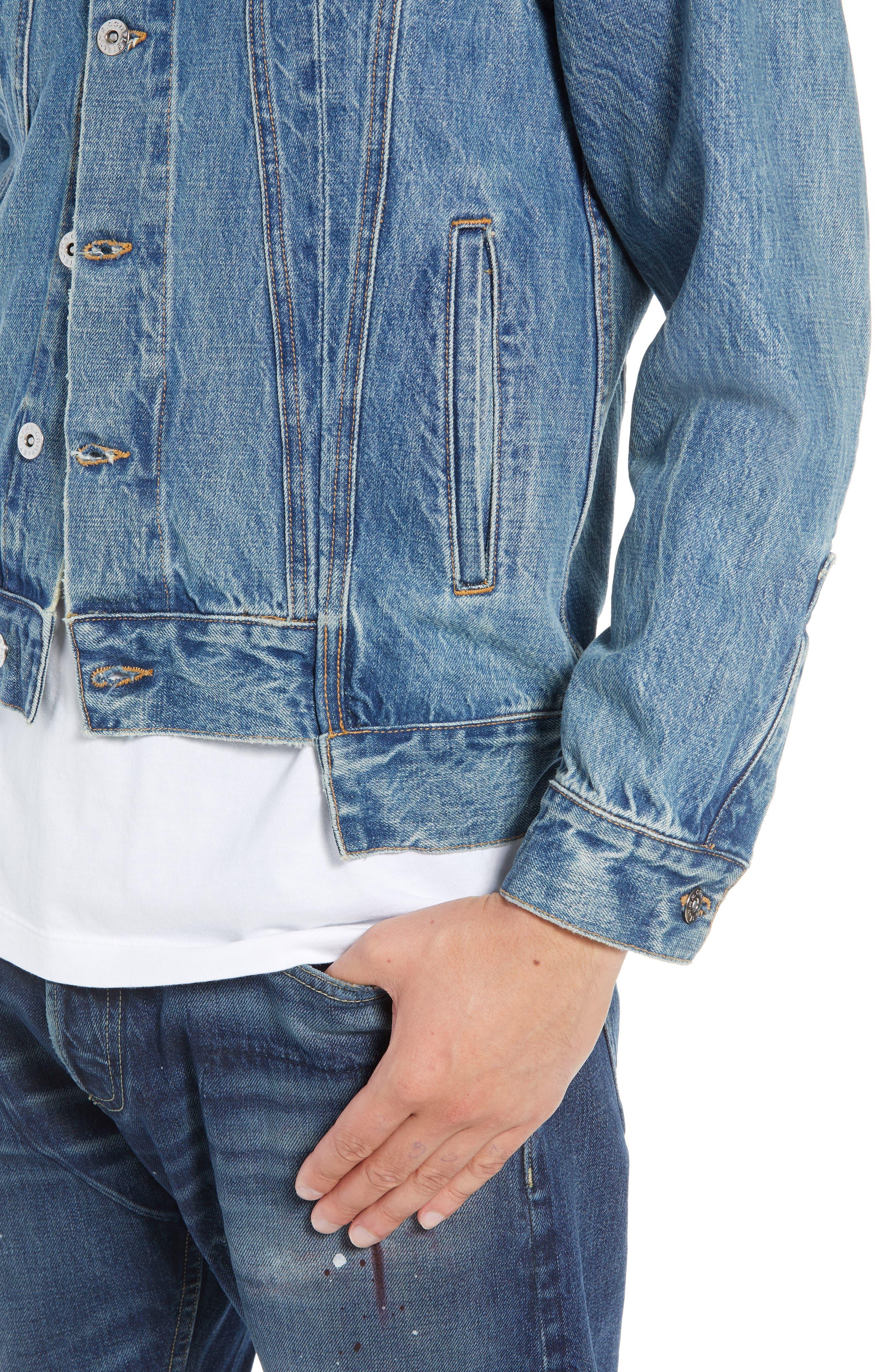 Slim Fit Denim Jacket,                             Alternate thumbnail 4, color,                             WASHED