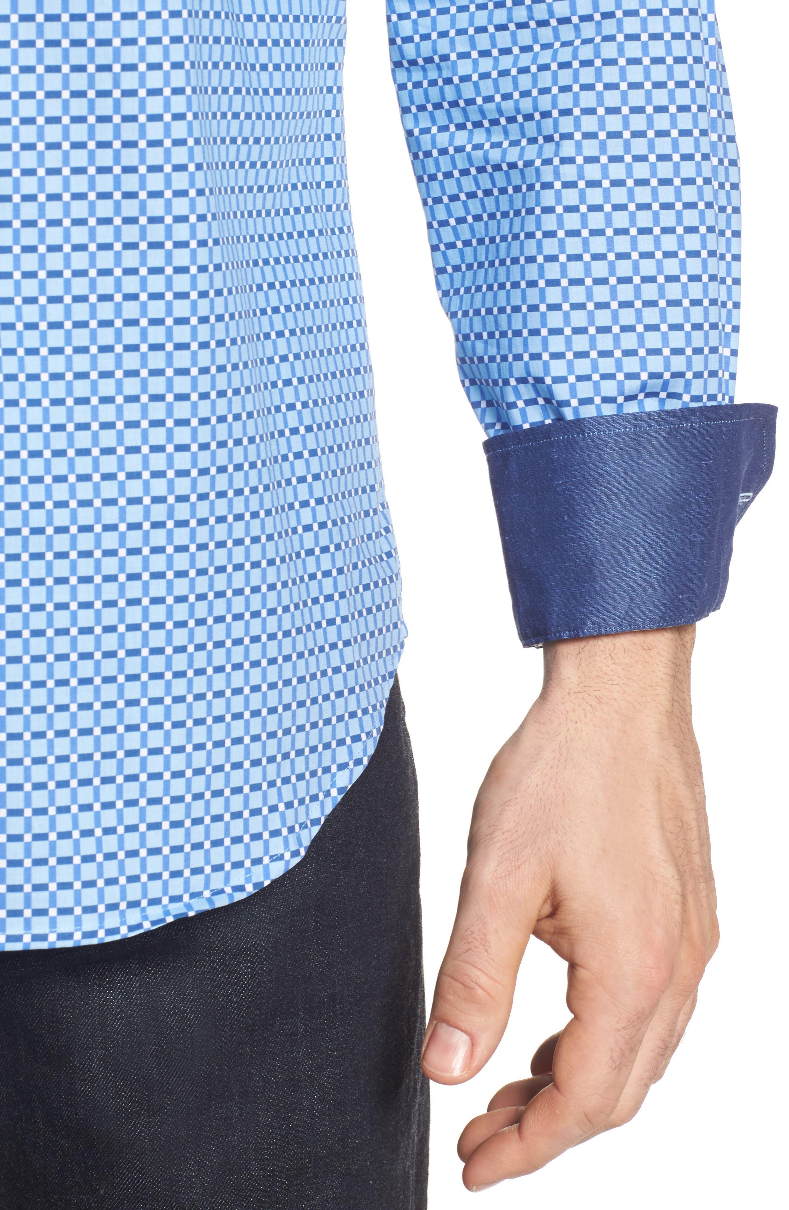 Shaped Fit Print Sport Shirt,                             Alternate thumbnail 19, color,