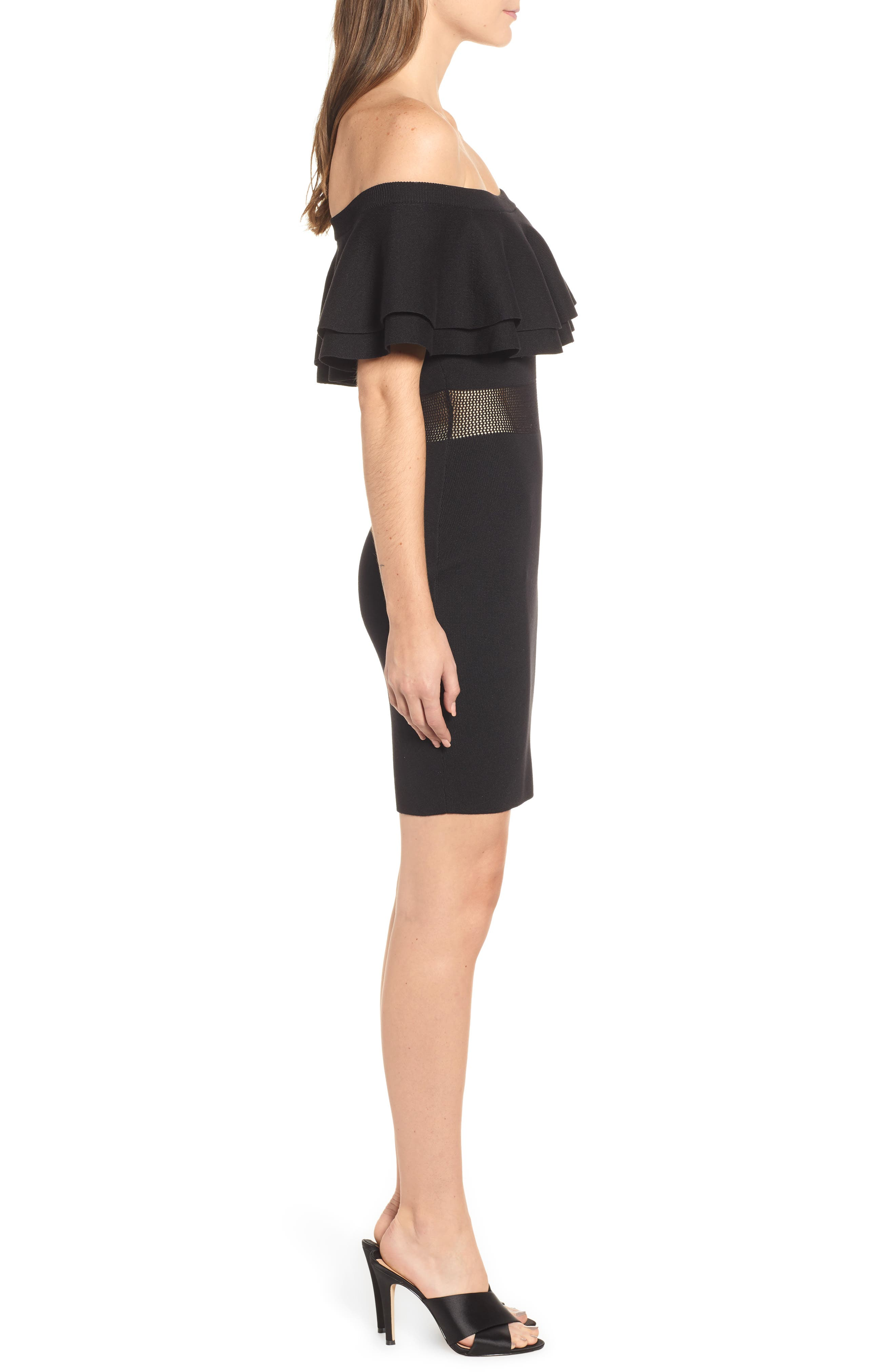 Off the Shoulder Sweater Dress,                             Alternate thumbnail 3, color,                             BLACK