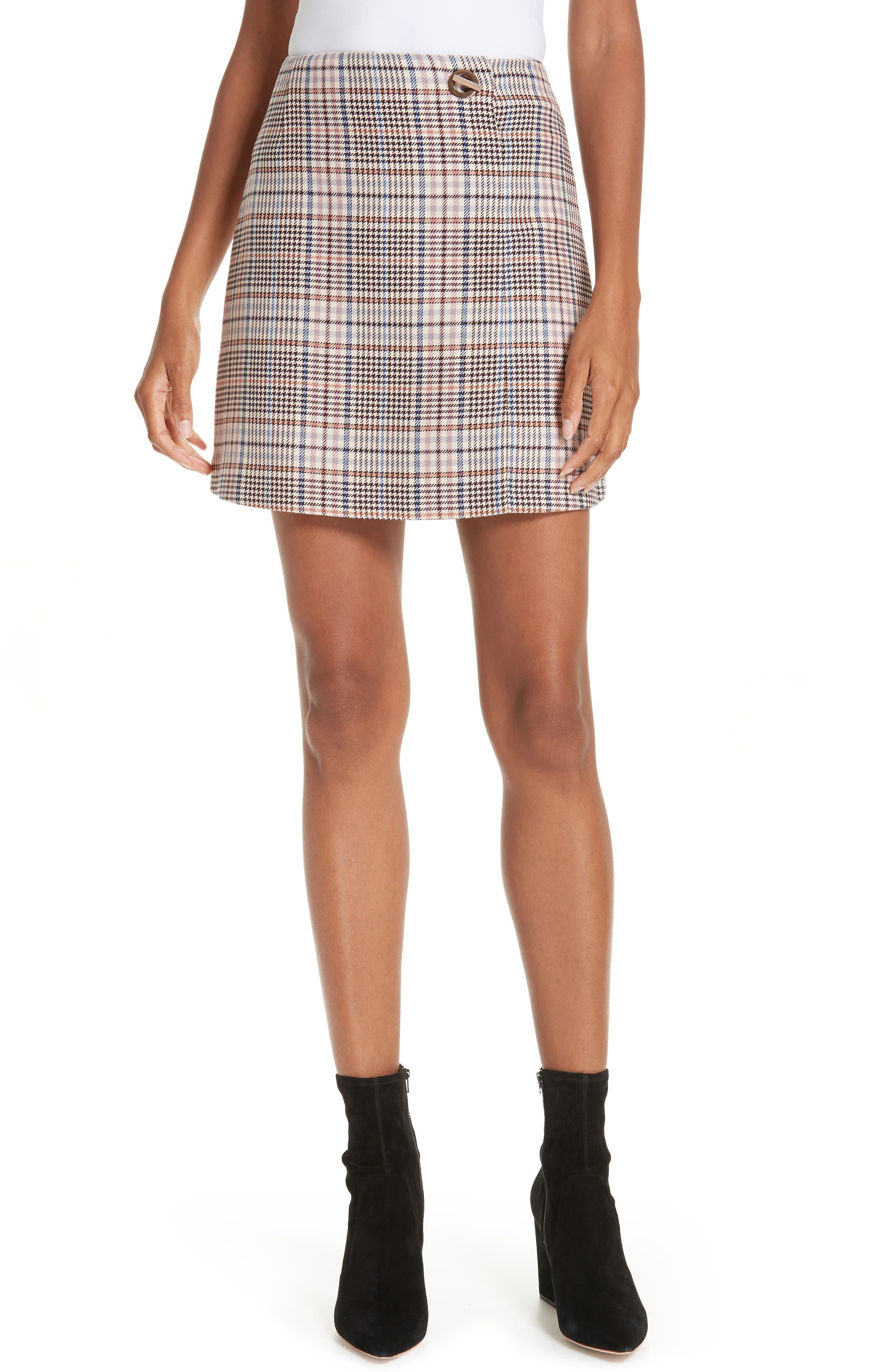 Plaid Miniskirt,                         Main,                         color, 650