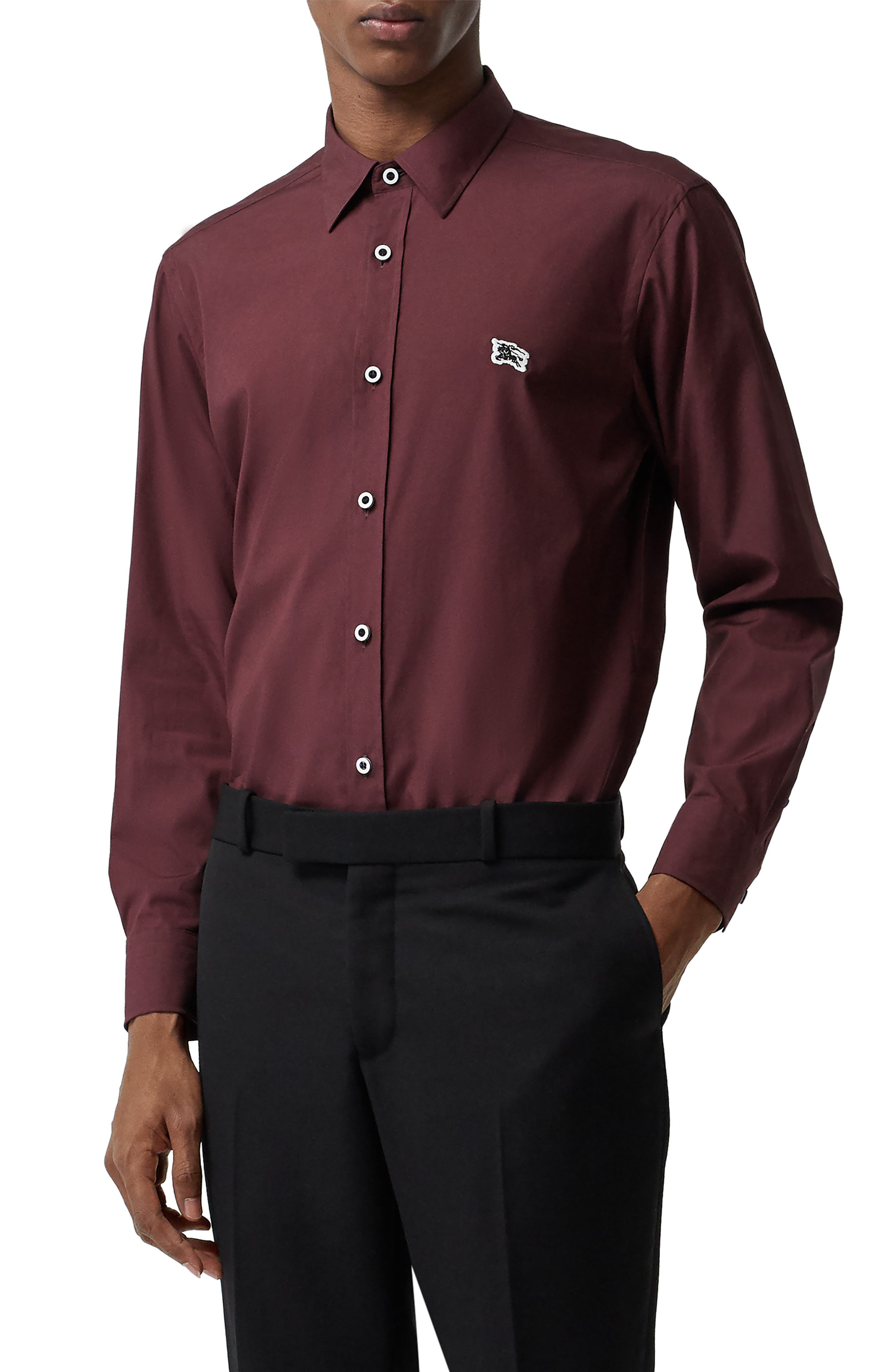BURBERRY,                             William Sport Shirt,                             Main thumbnail 1, color,                             OXBLOOD