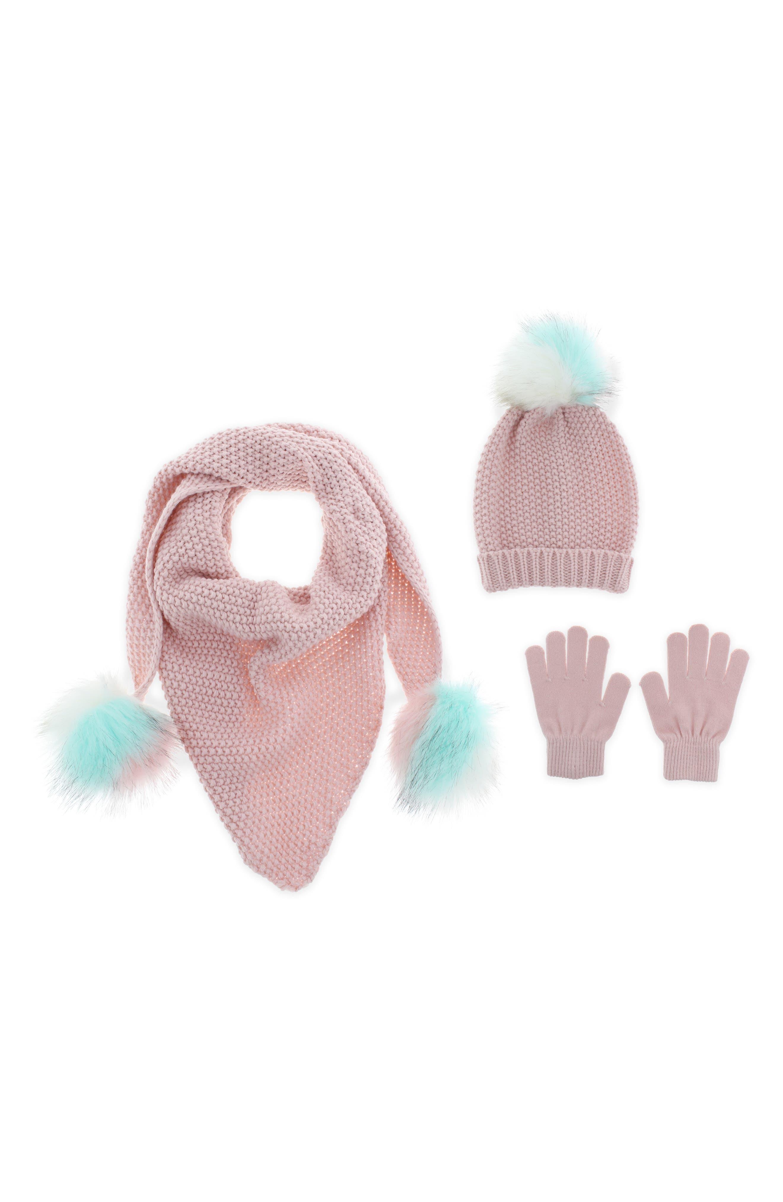Knit Hat, Scarf & Gloves Set with Faux Fur Pompoms,                         Main,                         color, BLUSH