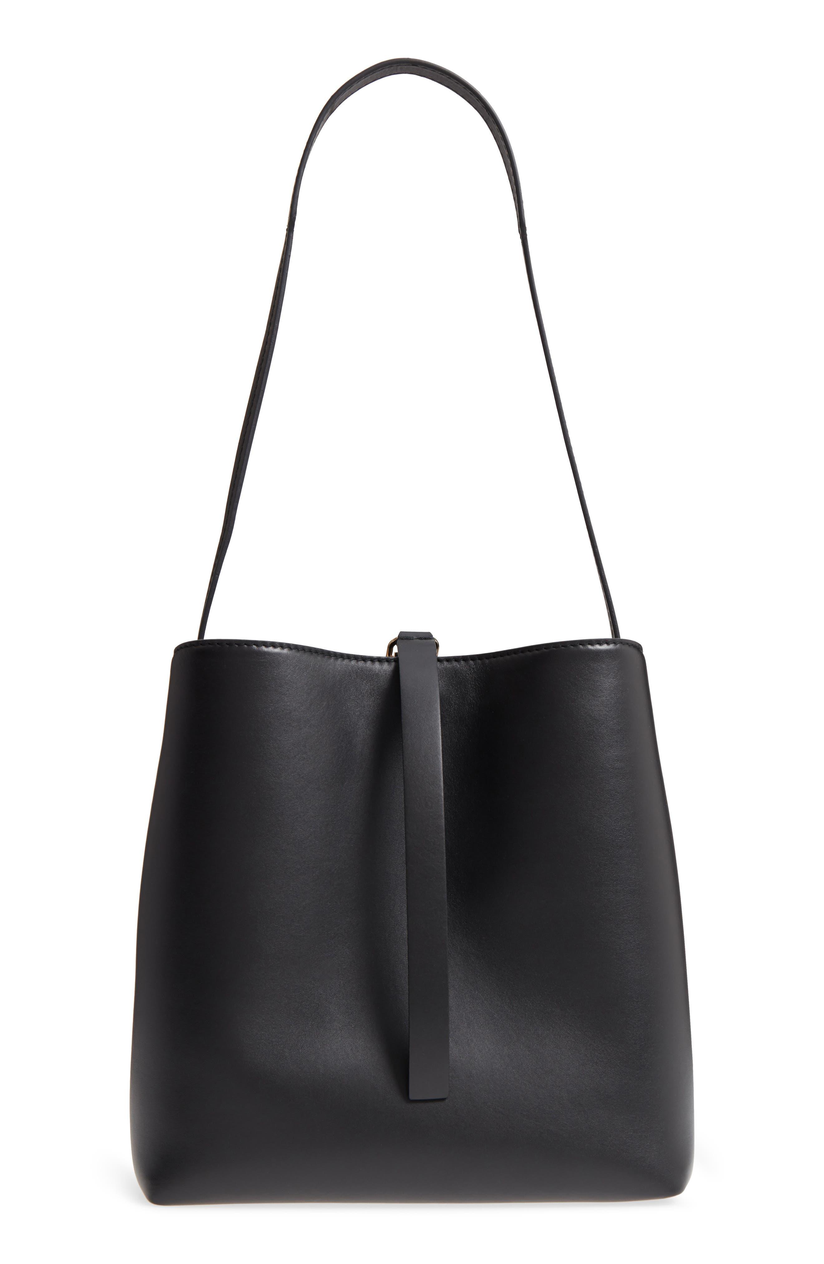 Frame Leather Shoulder Bag,                             Main thumbnail 1, color,                             BLACK/ BLACK