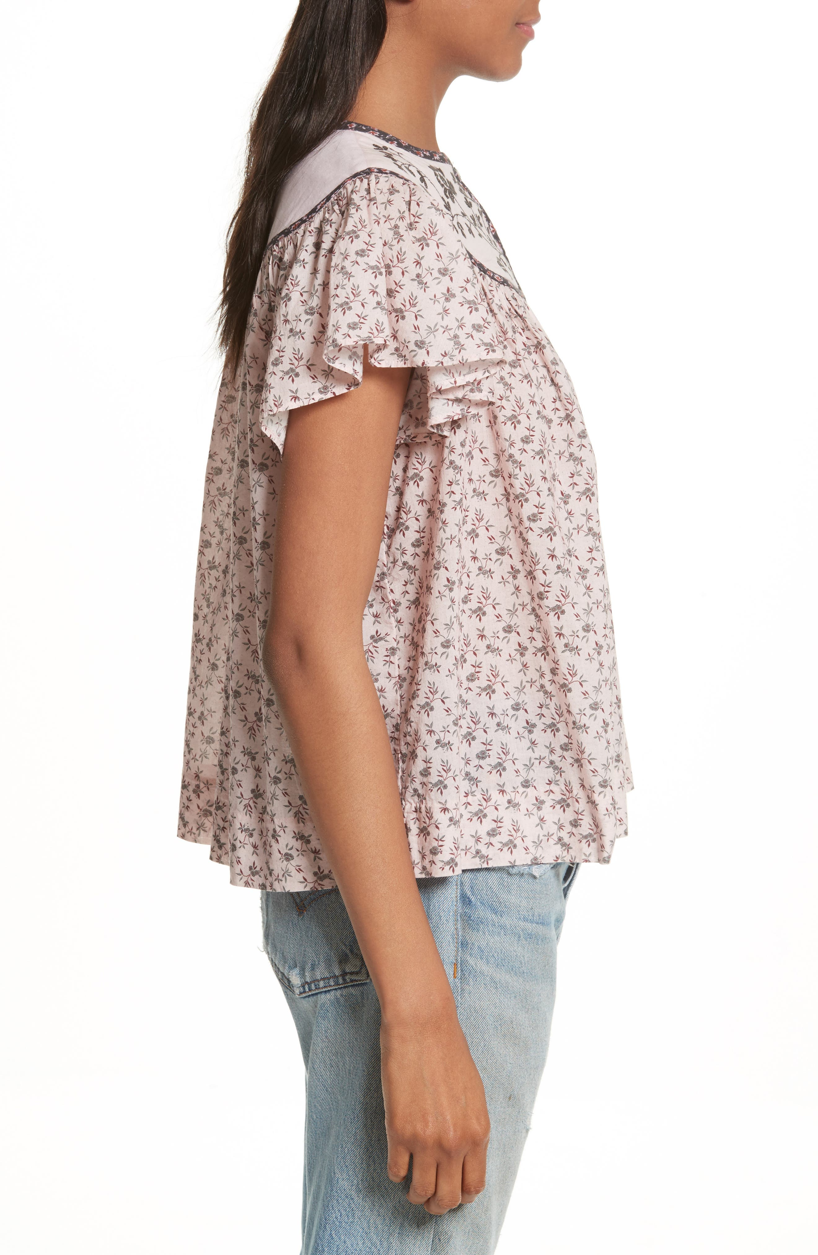 Embroidered Yoke Top,                             Alternate thumbnail 3, color,                             938