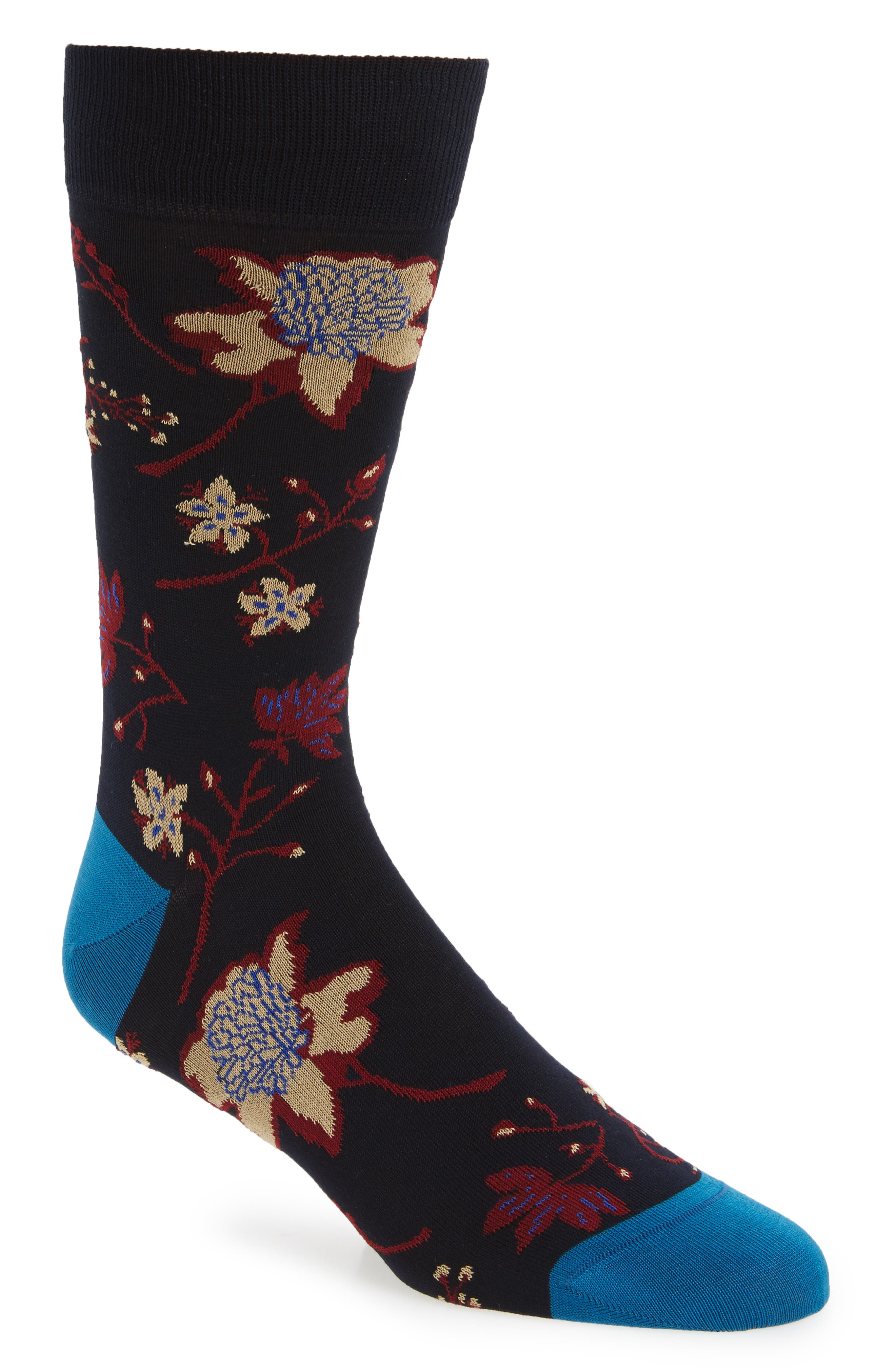Floral Crew Socks,                             Main thumbnail 1, color,