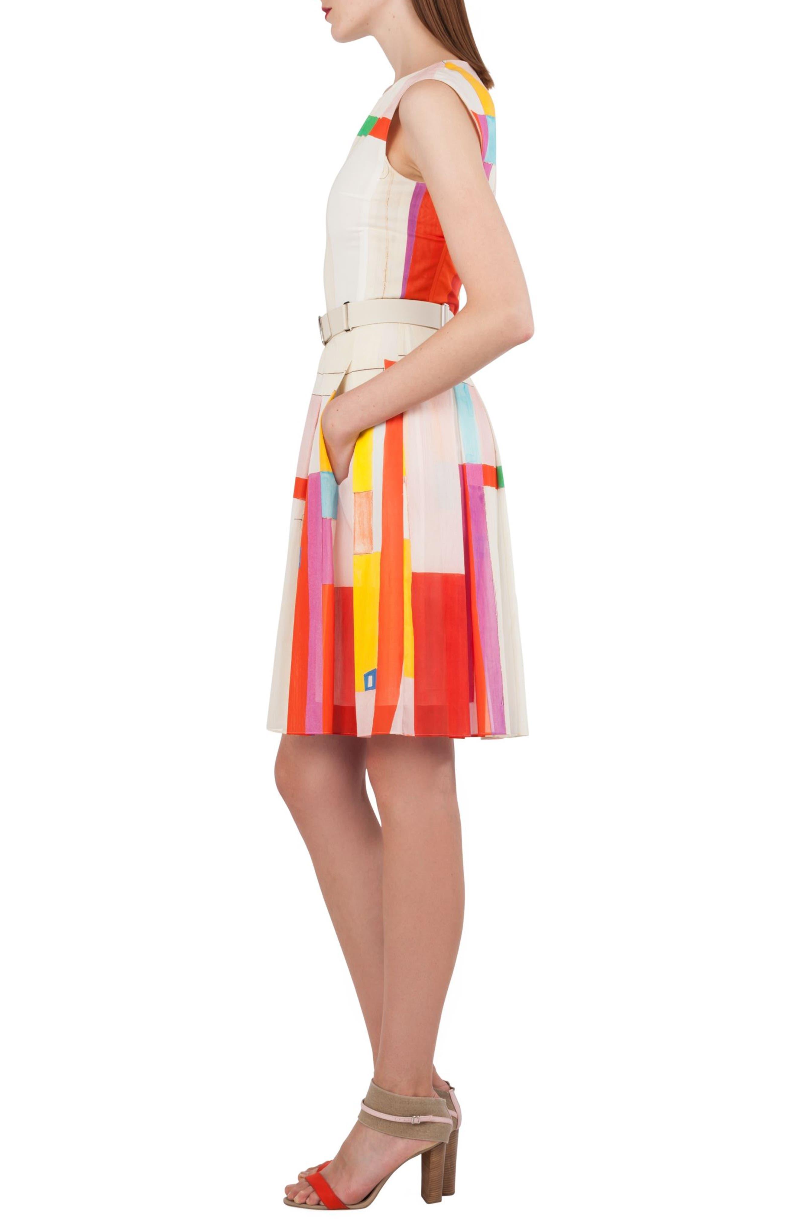 Mural Print Cotton Voile Dress,                             Alternate thumbnail 3, color,                             900