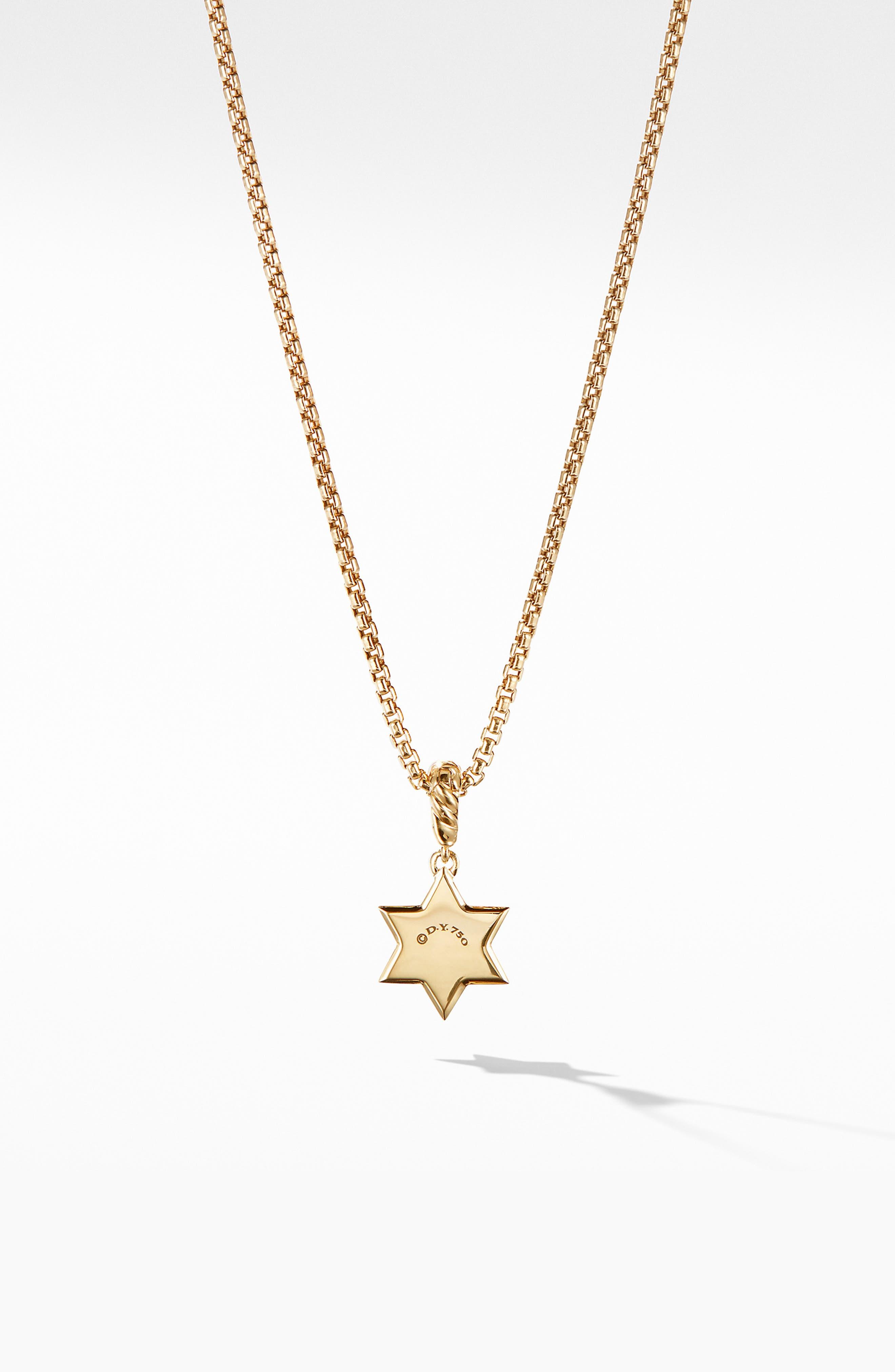 Star of David Pendant in 18K Yellow Gold with Diamonds,                             Alternate thumbnail 2, color,                             YELLOW GOLD/ DIAMOND