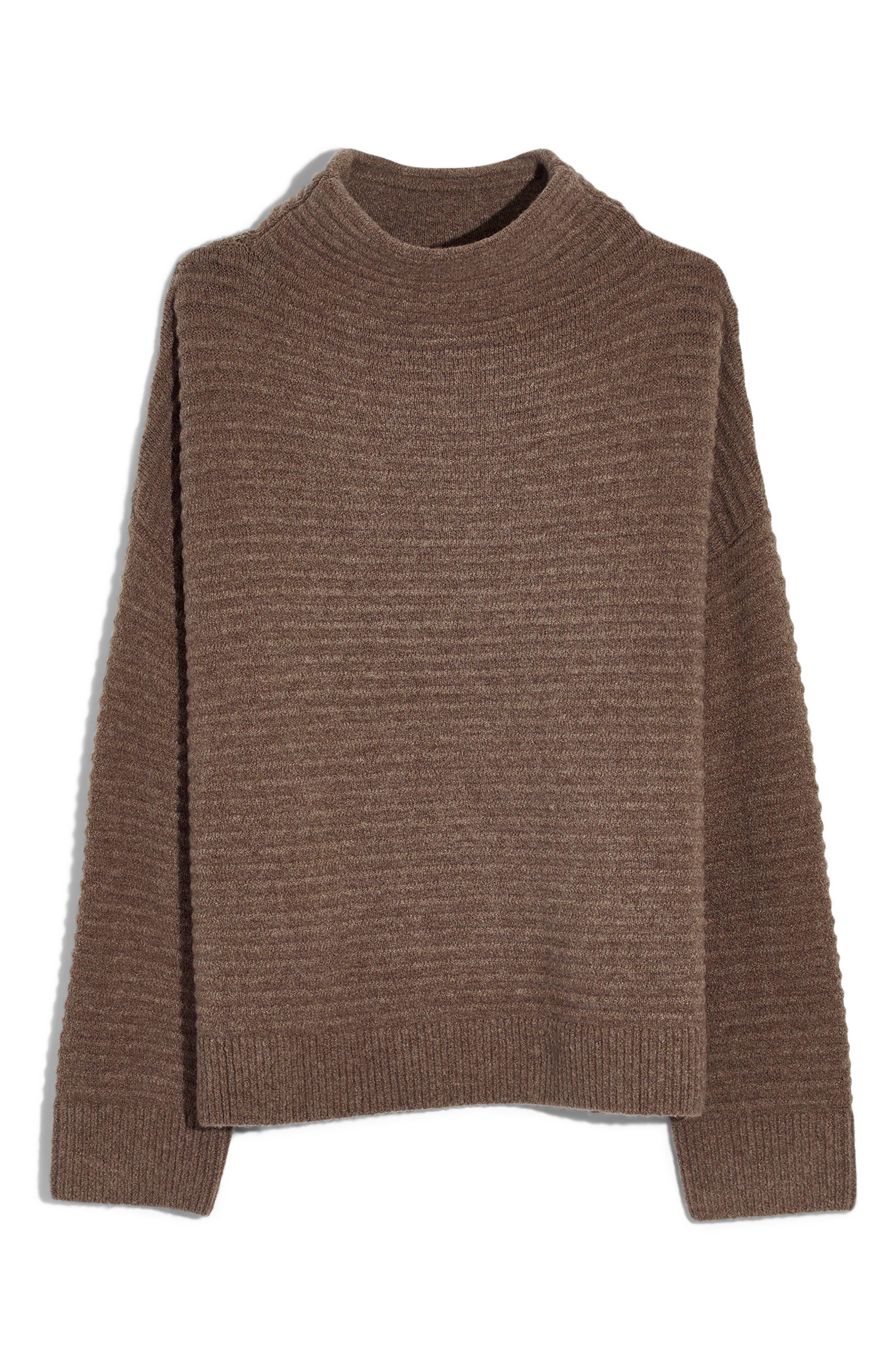 Belmont Mock Neck Sweater,                             Alternate thumbnail 5, color,                             HEATHER ROOT