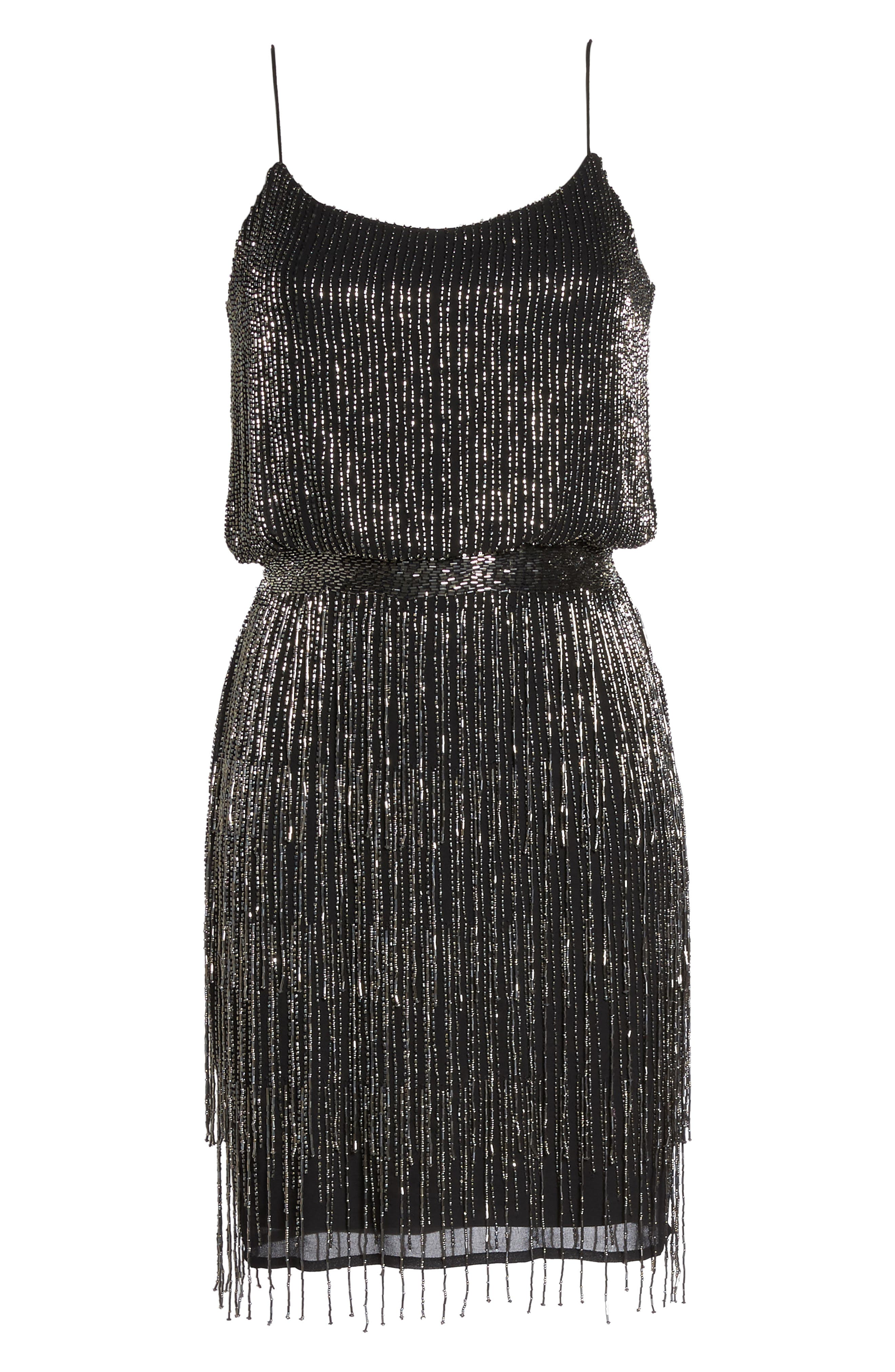 Beaded Fringe Blouson Dress,                             Alternate thumbnail 7, color,                             017