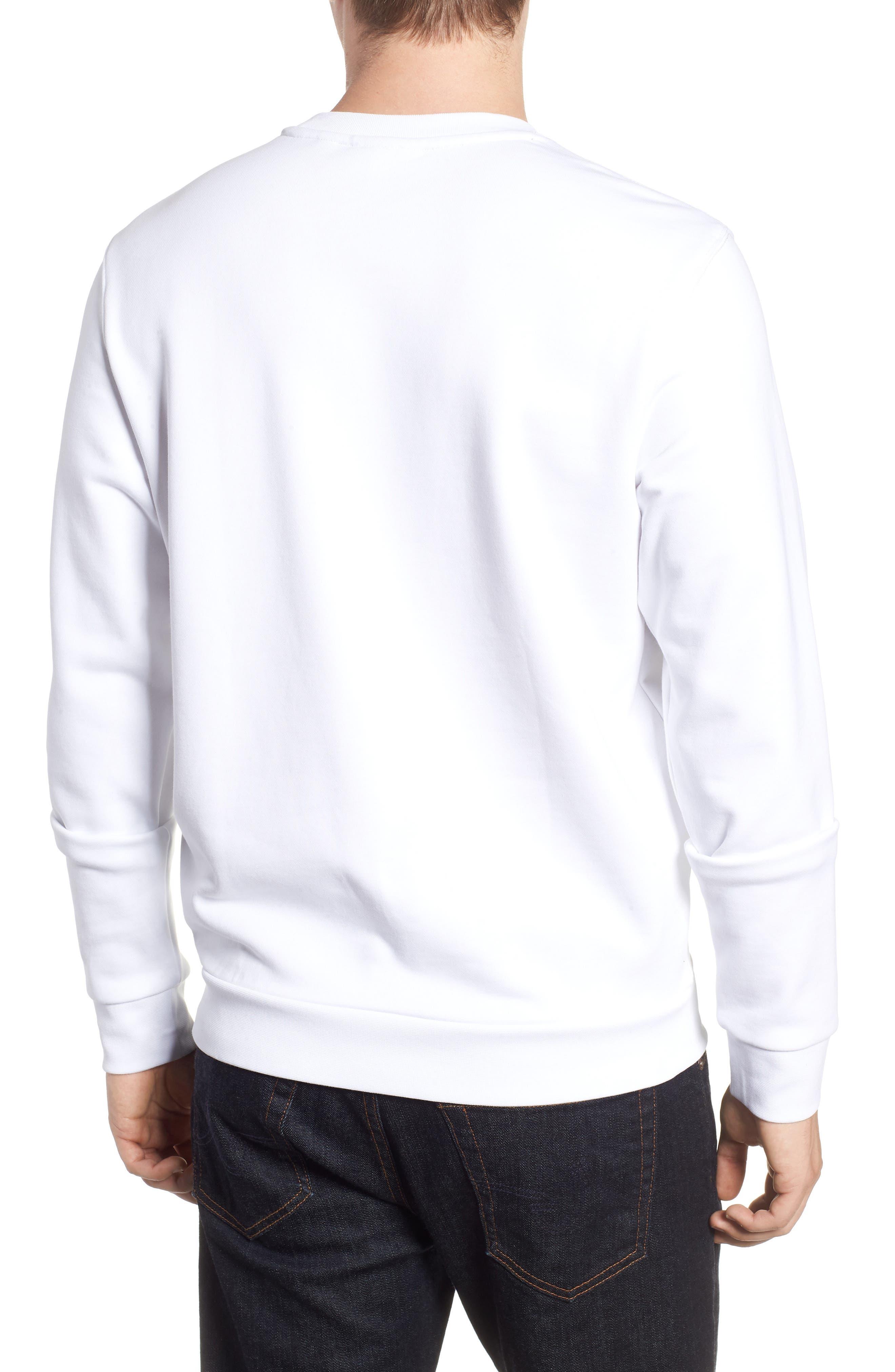 Heritage Regular Fit Sweatshirt,                             Alternate thumbnail 2, color,                             WHITE/ NAVY BLUE