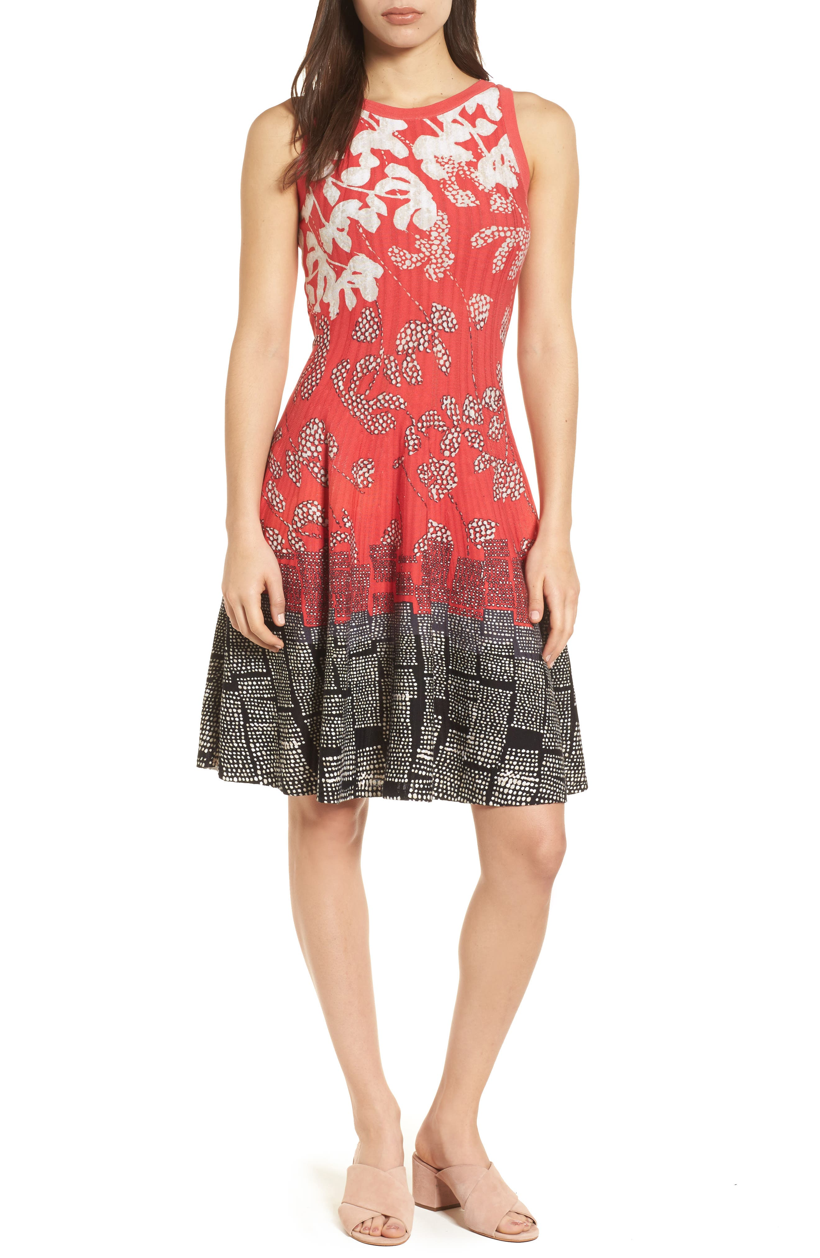 Terrace Twirl Fit & Flare Dress,                             Main thumbnail 1, color,
