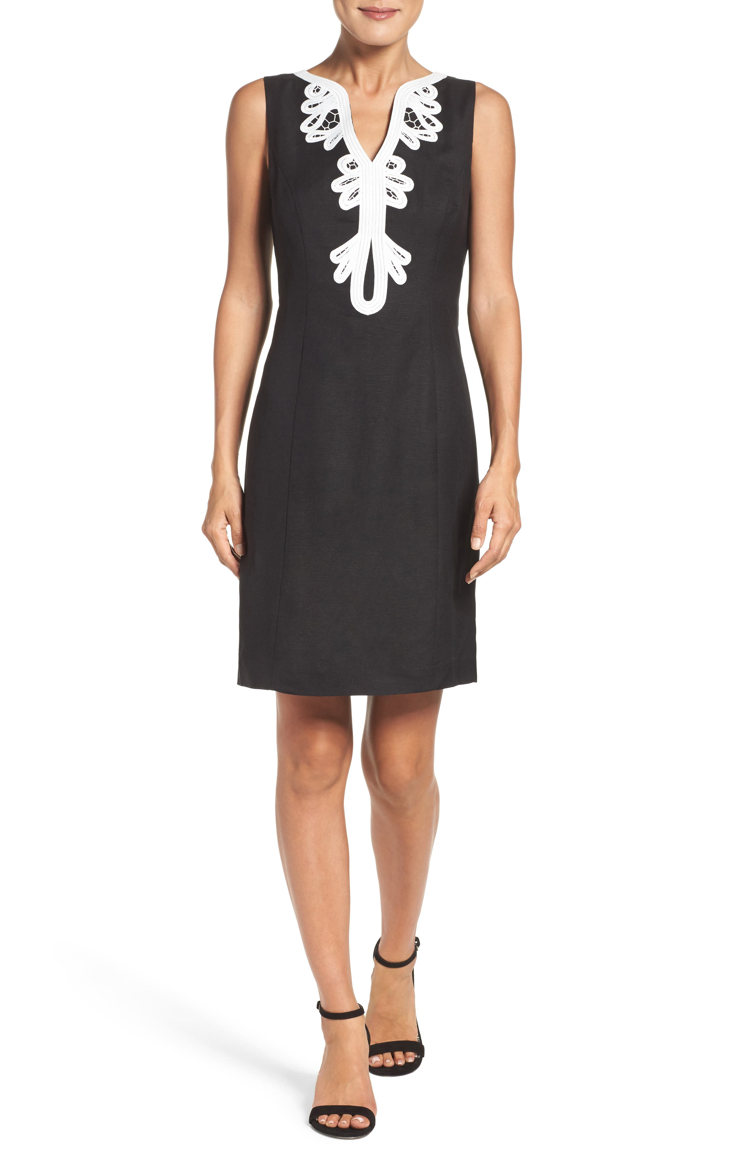 Embroidered Neck Sheath Dress,                             Alternate thumbnail 5, color,                             001