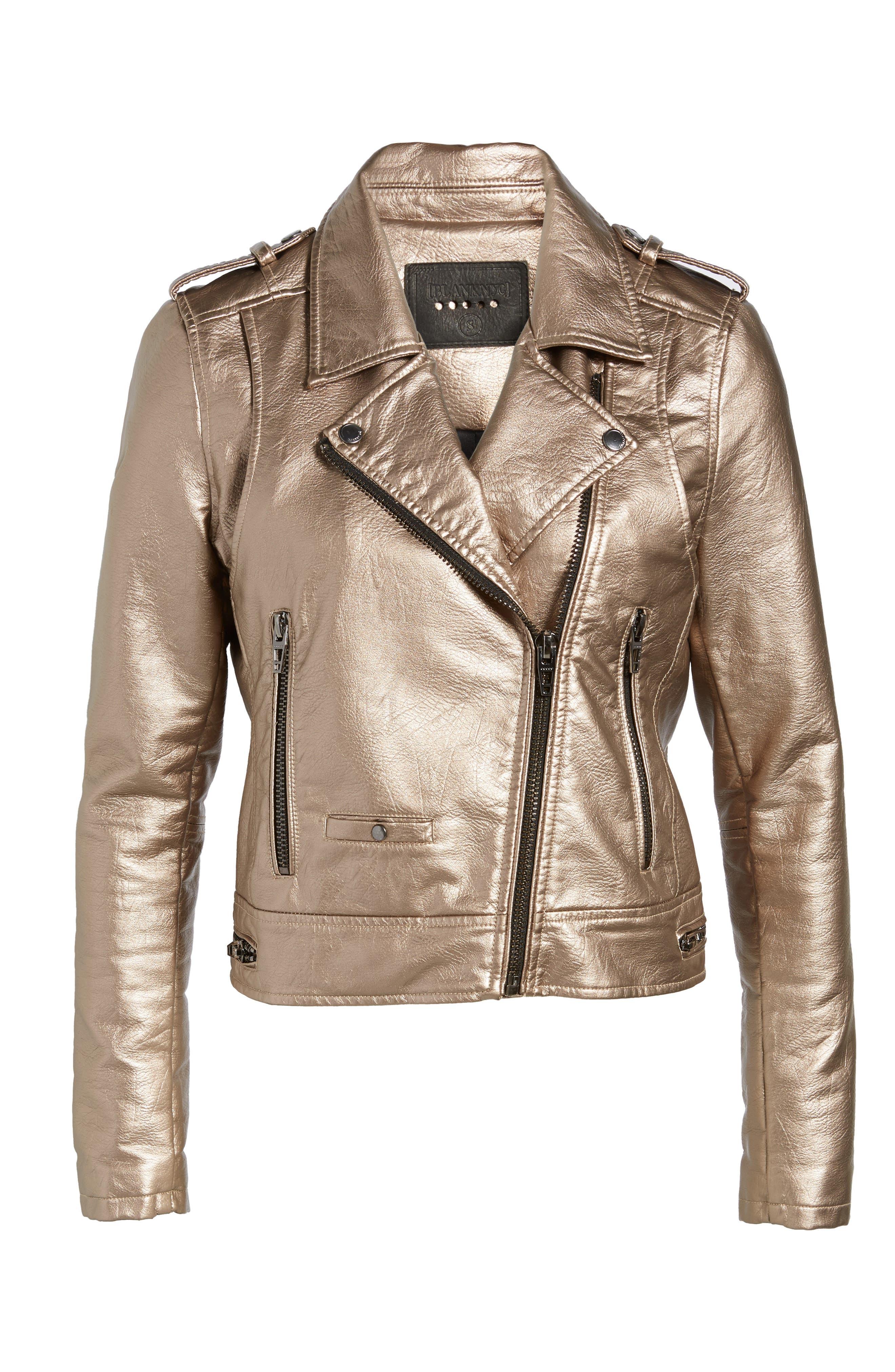 Metallic Faux Leather Moto Jacket,                             Alternate thumbnail 5, color,