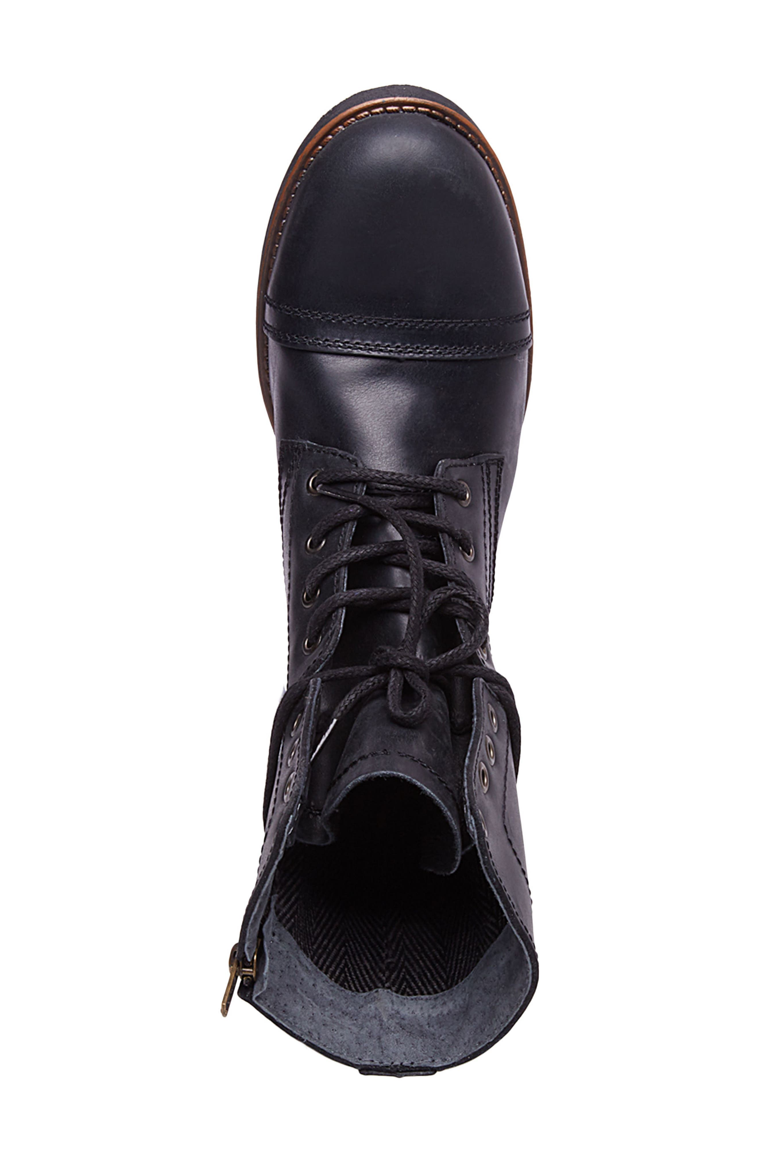 Troopah-C Cap Toe Boot,                             Alternate thumbnail 5, color,                             BLACK LEATHER