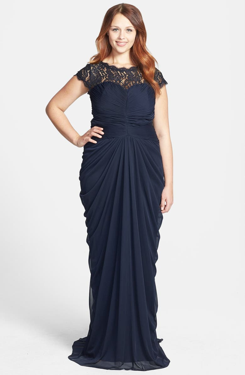 Adrianna Papell Lace Yoke Drape Mesh Gown   Nordstrom