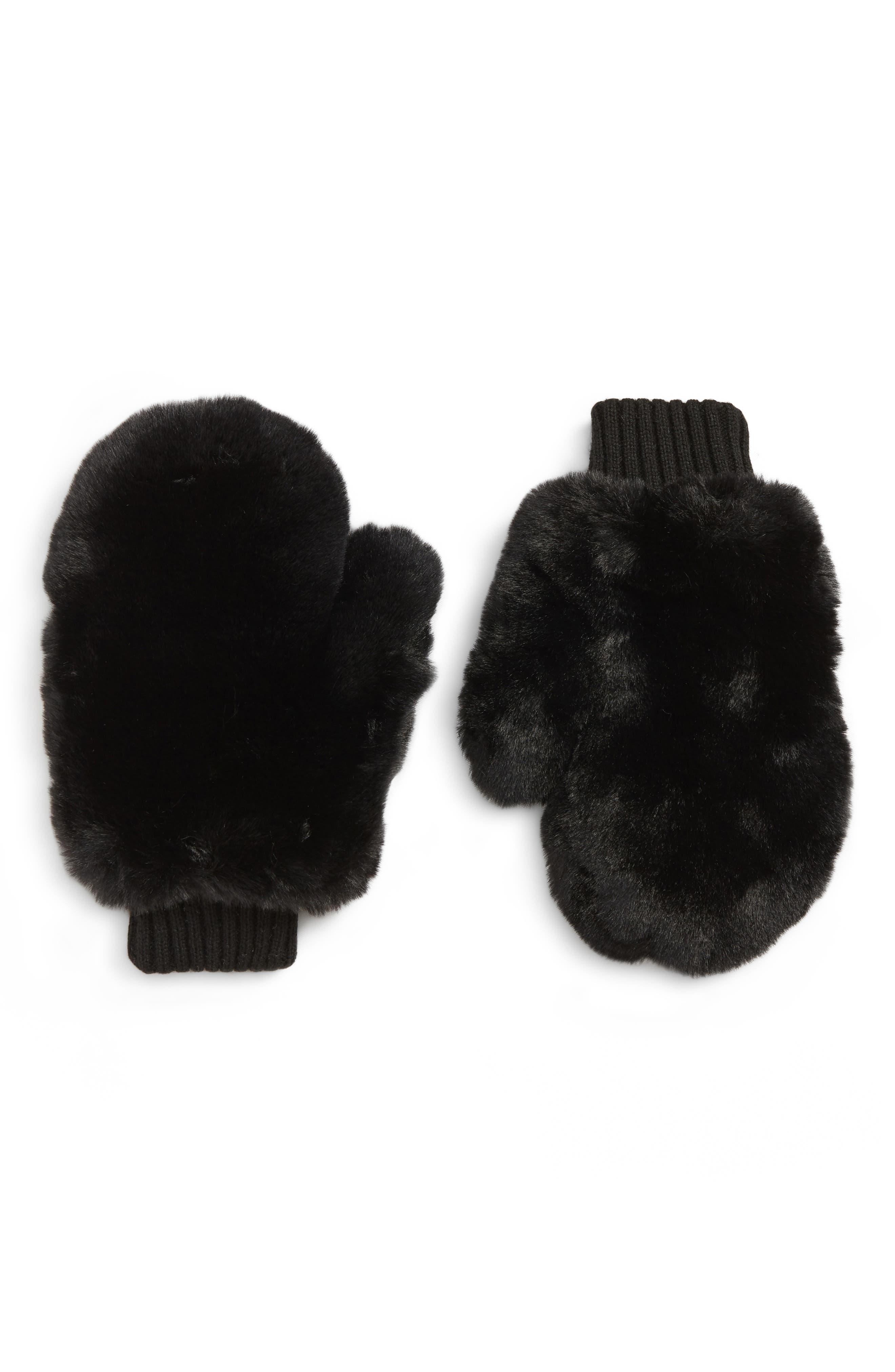 Faux Fur Mittens,                         Main,                         color, BLACK