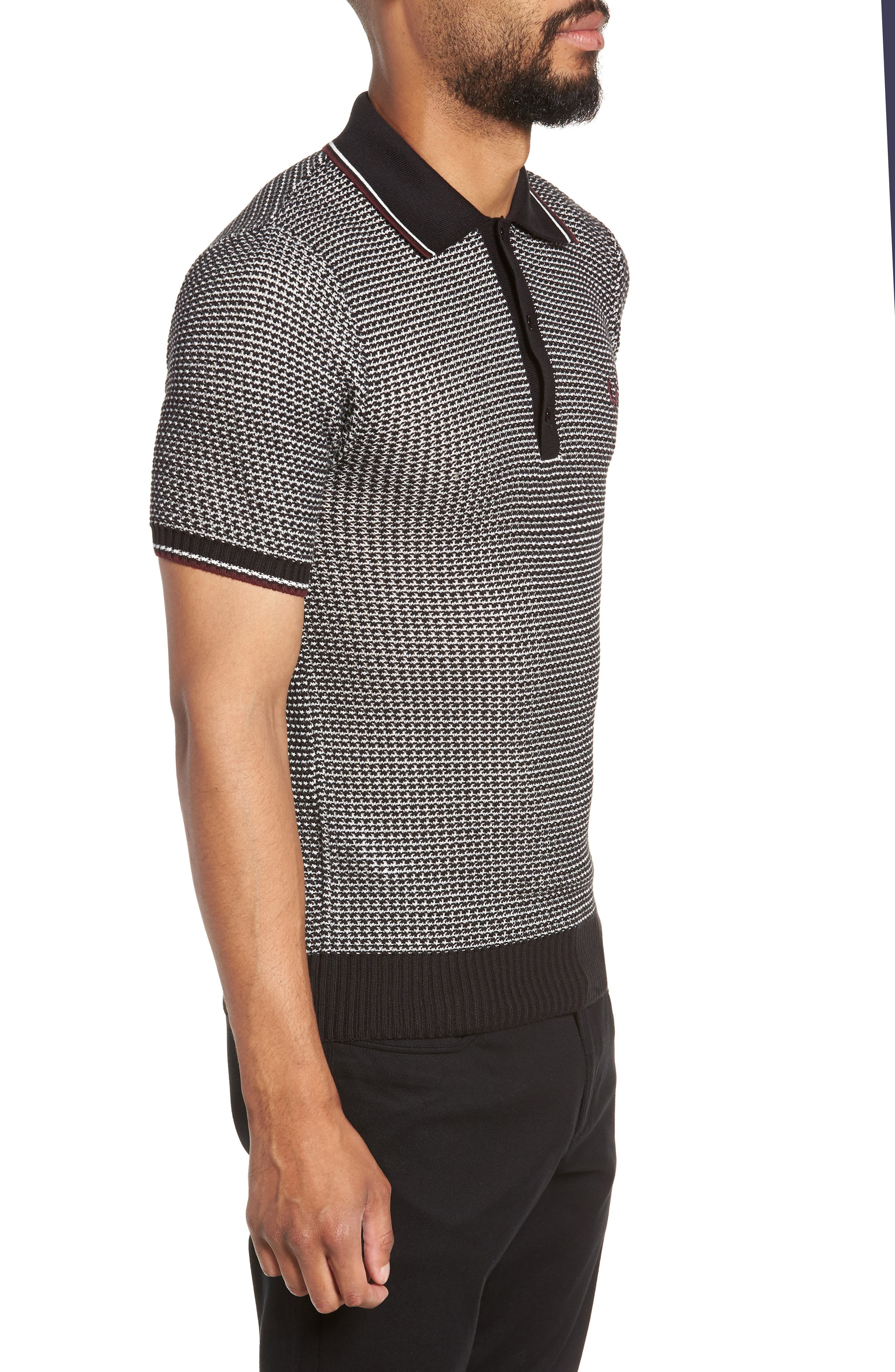Tipped Houndstooth Polo,                             Alternate thumbnail 3, color,                             001