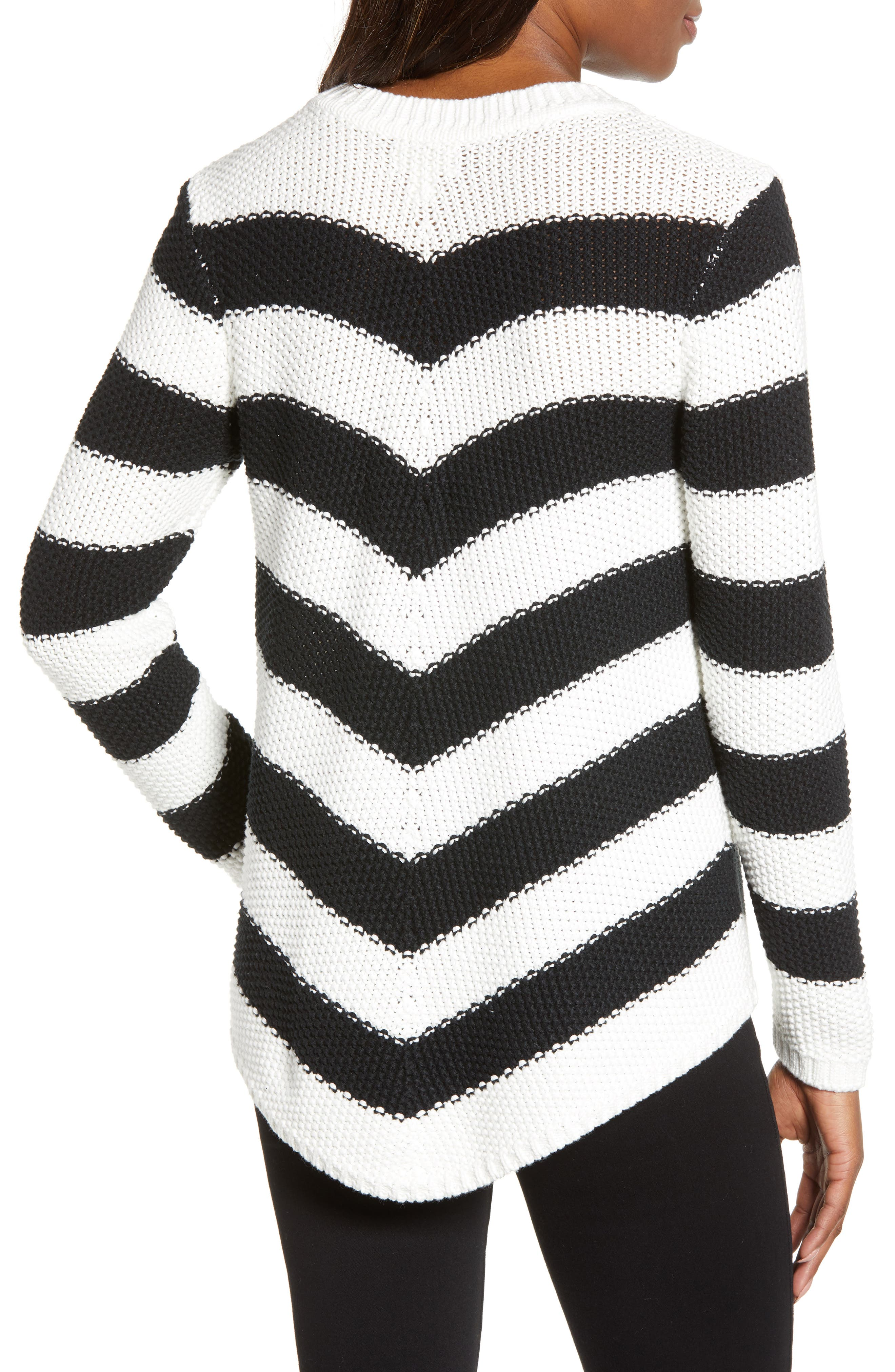Stitch Stripe Sweater,                             Alternate thumbnail 2, color,                             BLACK- IVORY GABRIELLA STRIPE