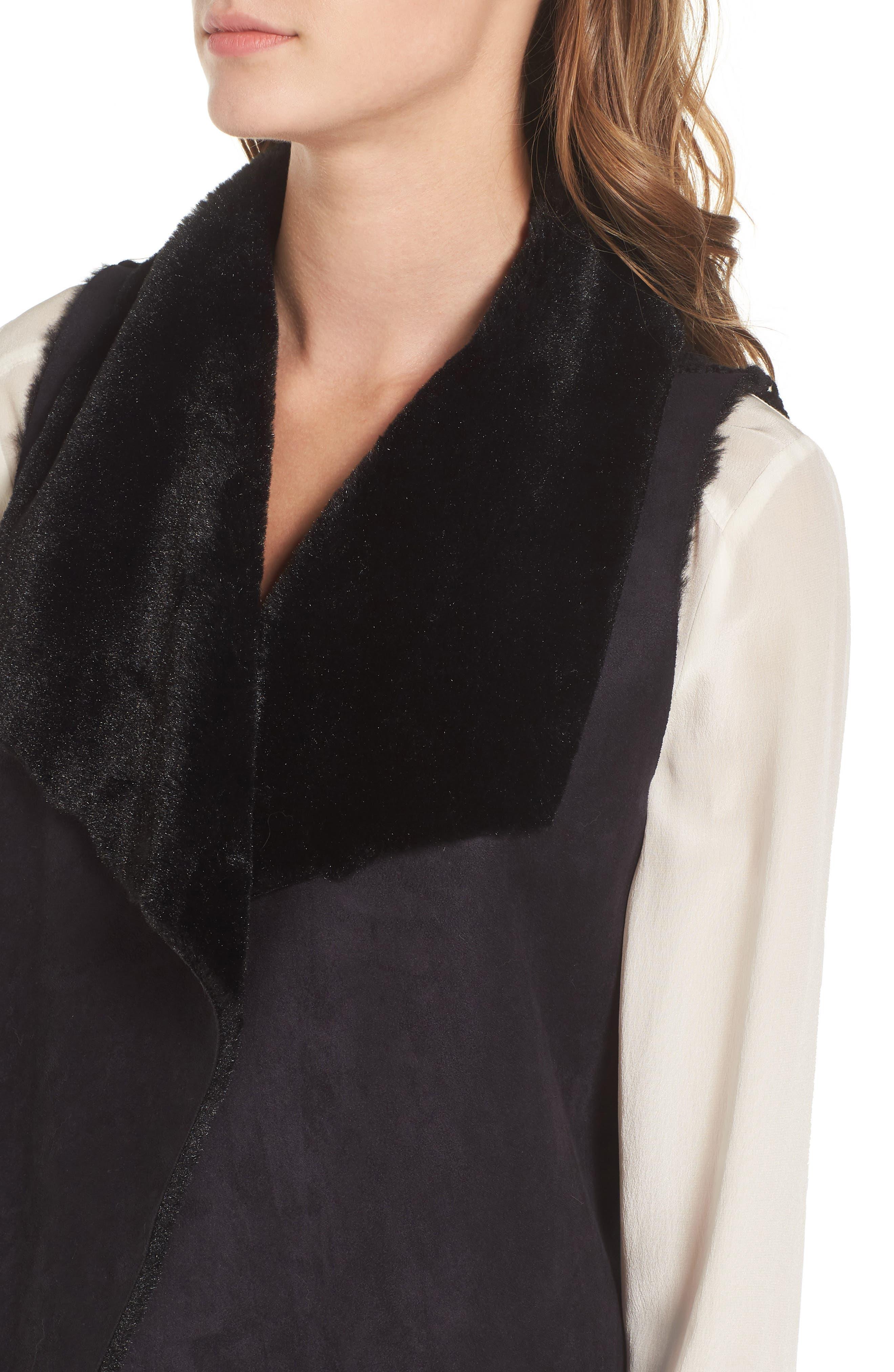 Faux Shearling Vest,                             Alternate thumbnail 4, color,                             001