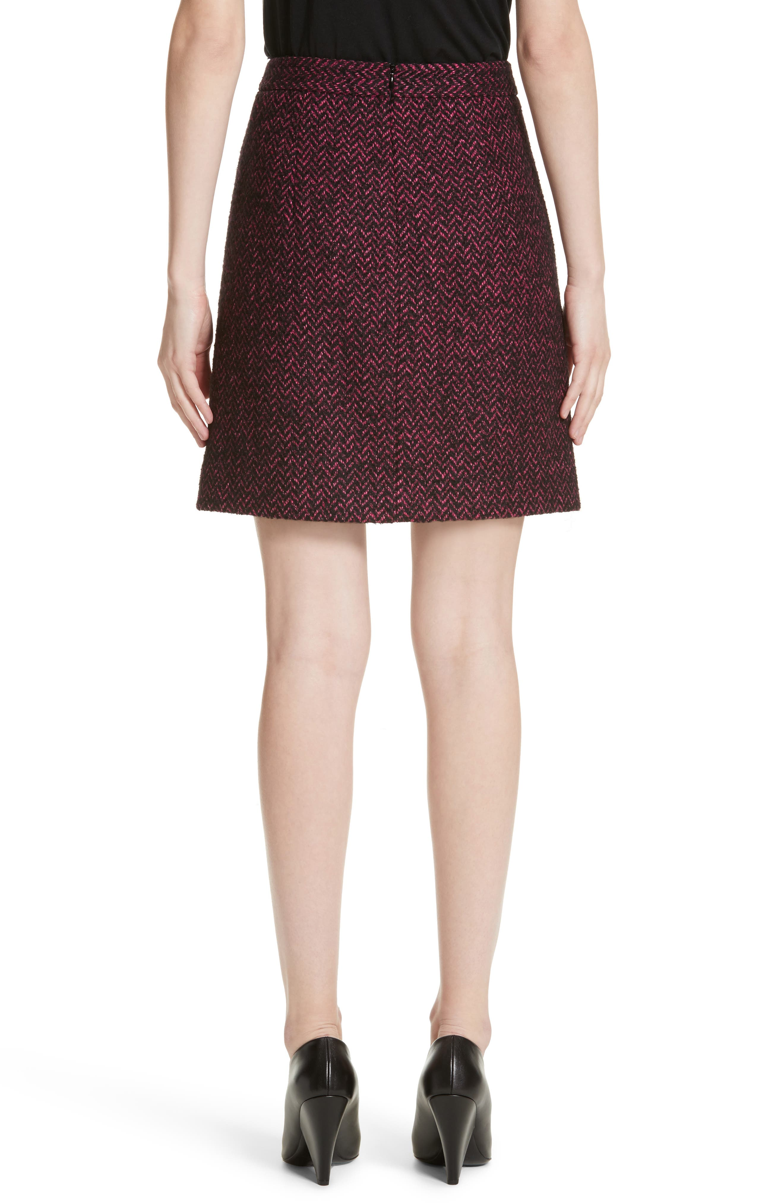 Herringbone Wool Blend A-Line Skirt,                             Alternate thumbnail 2, color,                             500
