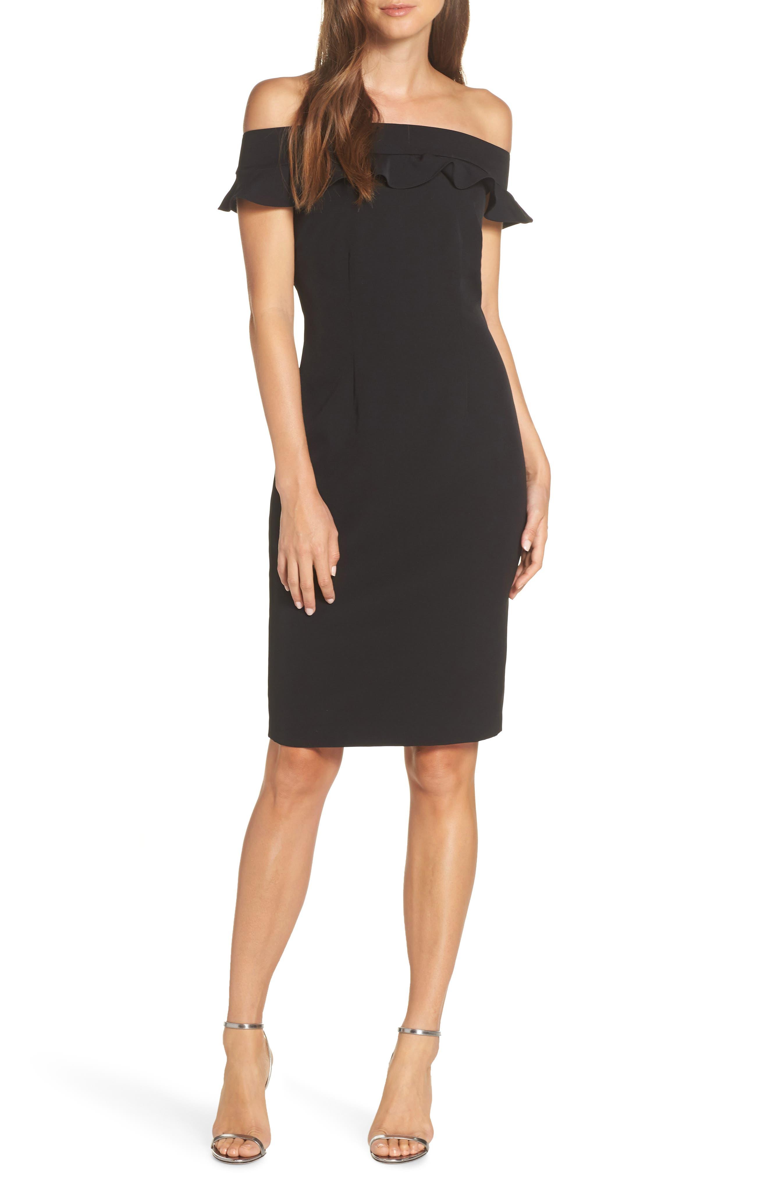 Eliza J Ruffle Off The Shoulder Dress, Black