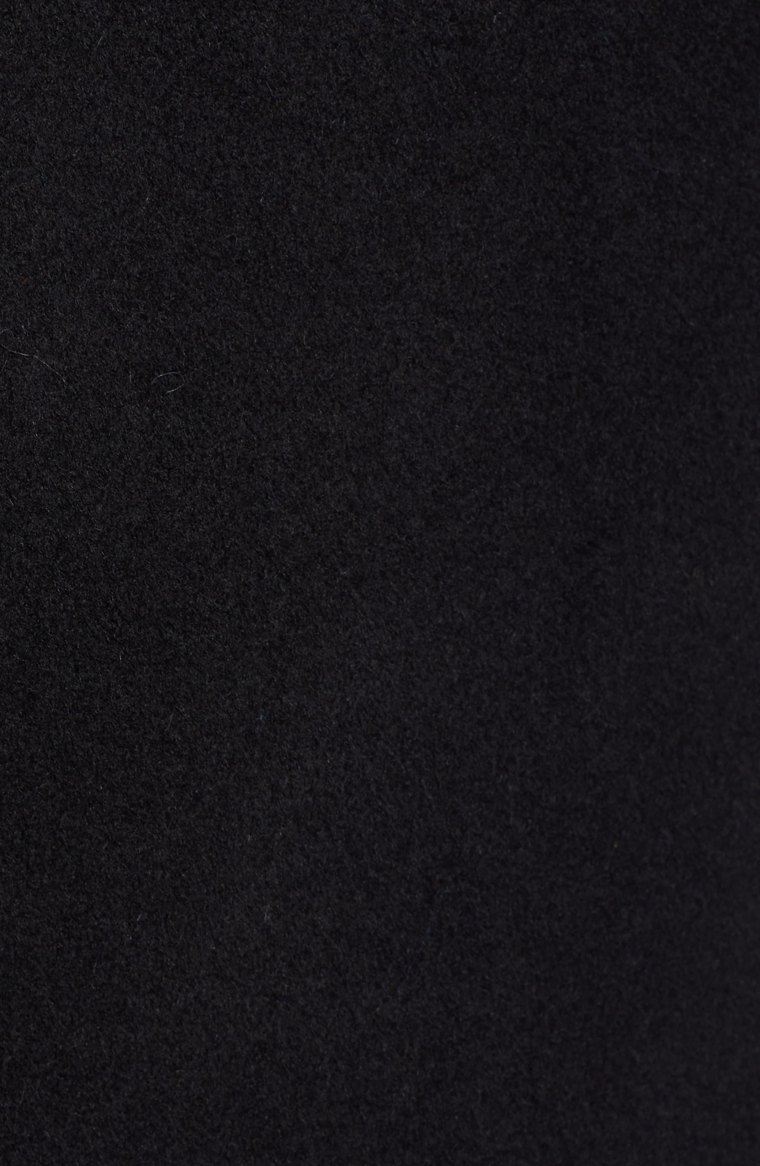 St Marie Wool Hooded Coat with Genuine Raccoon Fur Trim,                             Alternate thumbnail 7, color,                             BLACK
