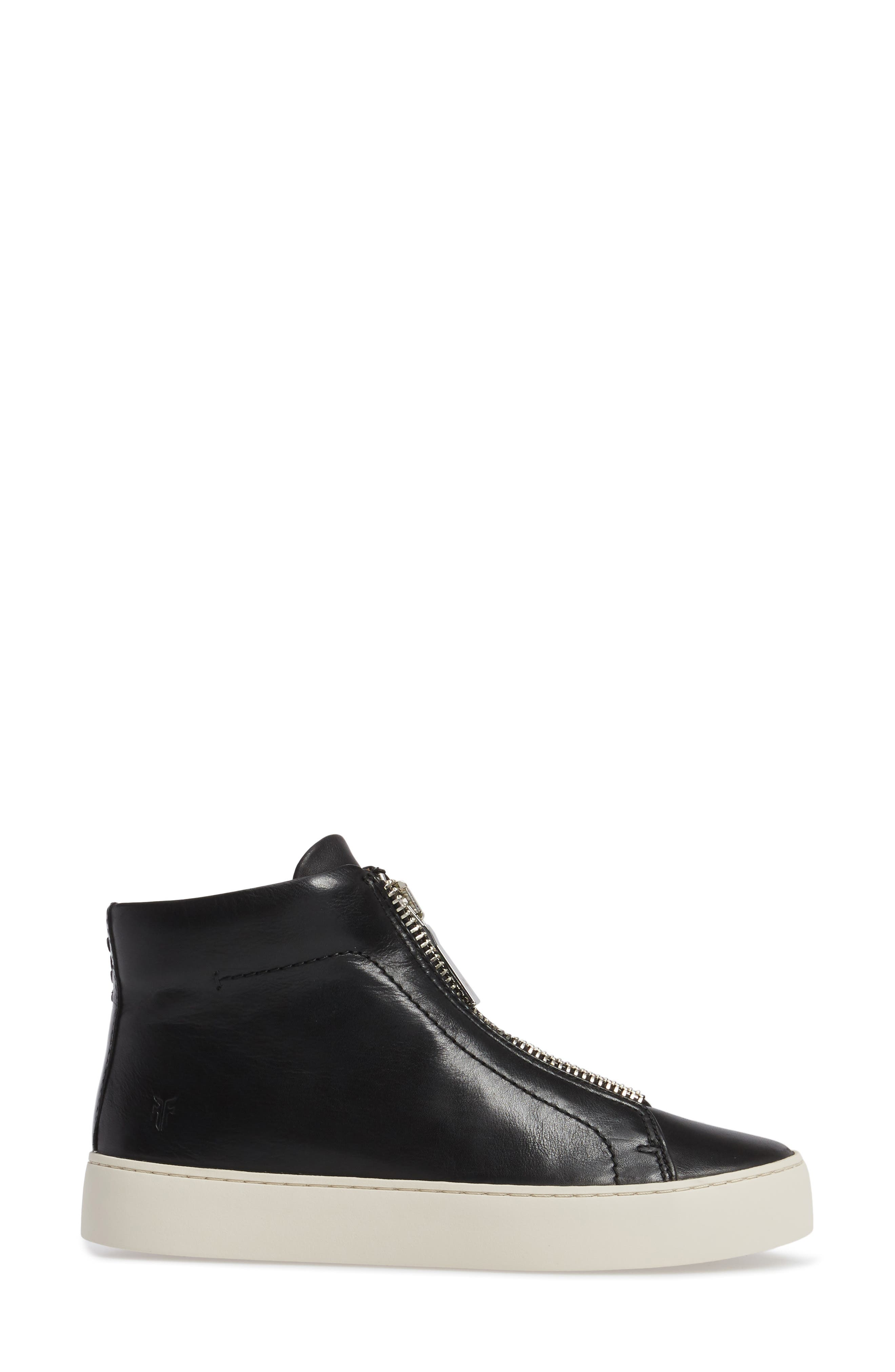 Lena Zip High Top Sneaker,                             Alternate thumbnail 3, color,                             BLACK LEATHER
