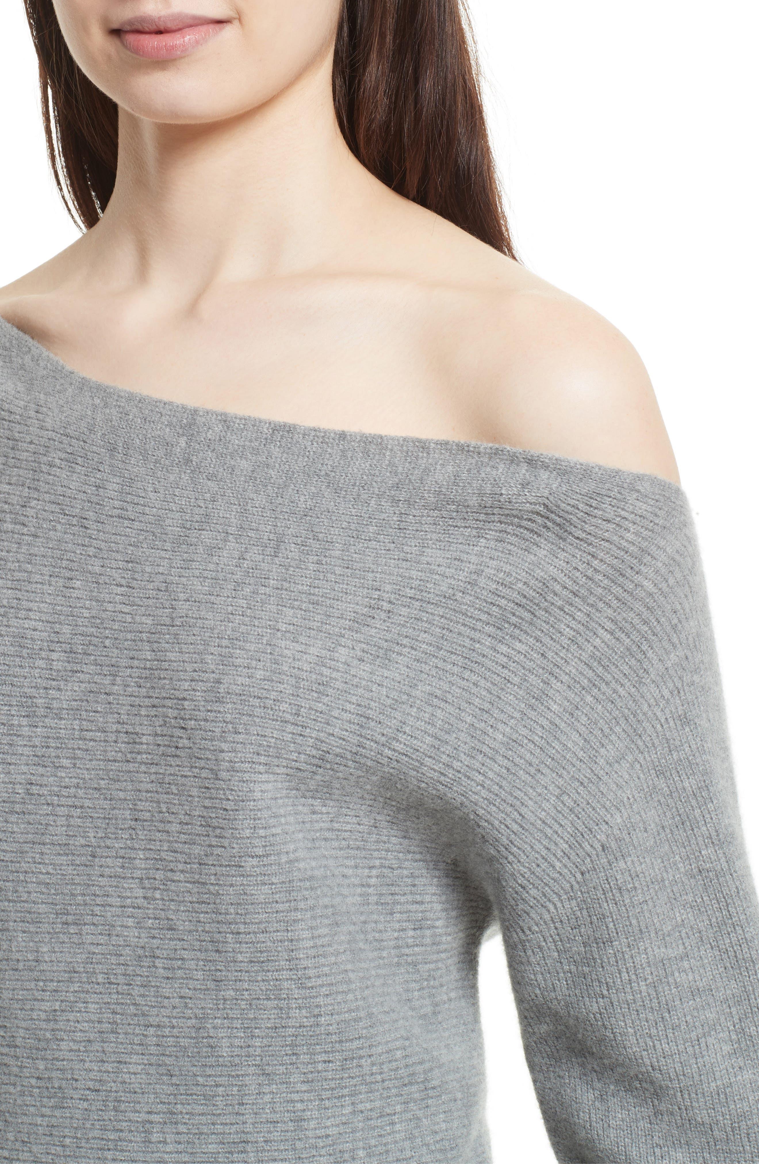 One-Shoulder Merino Wool Sweater,                             Alternate thumbnail 4, color,                             079