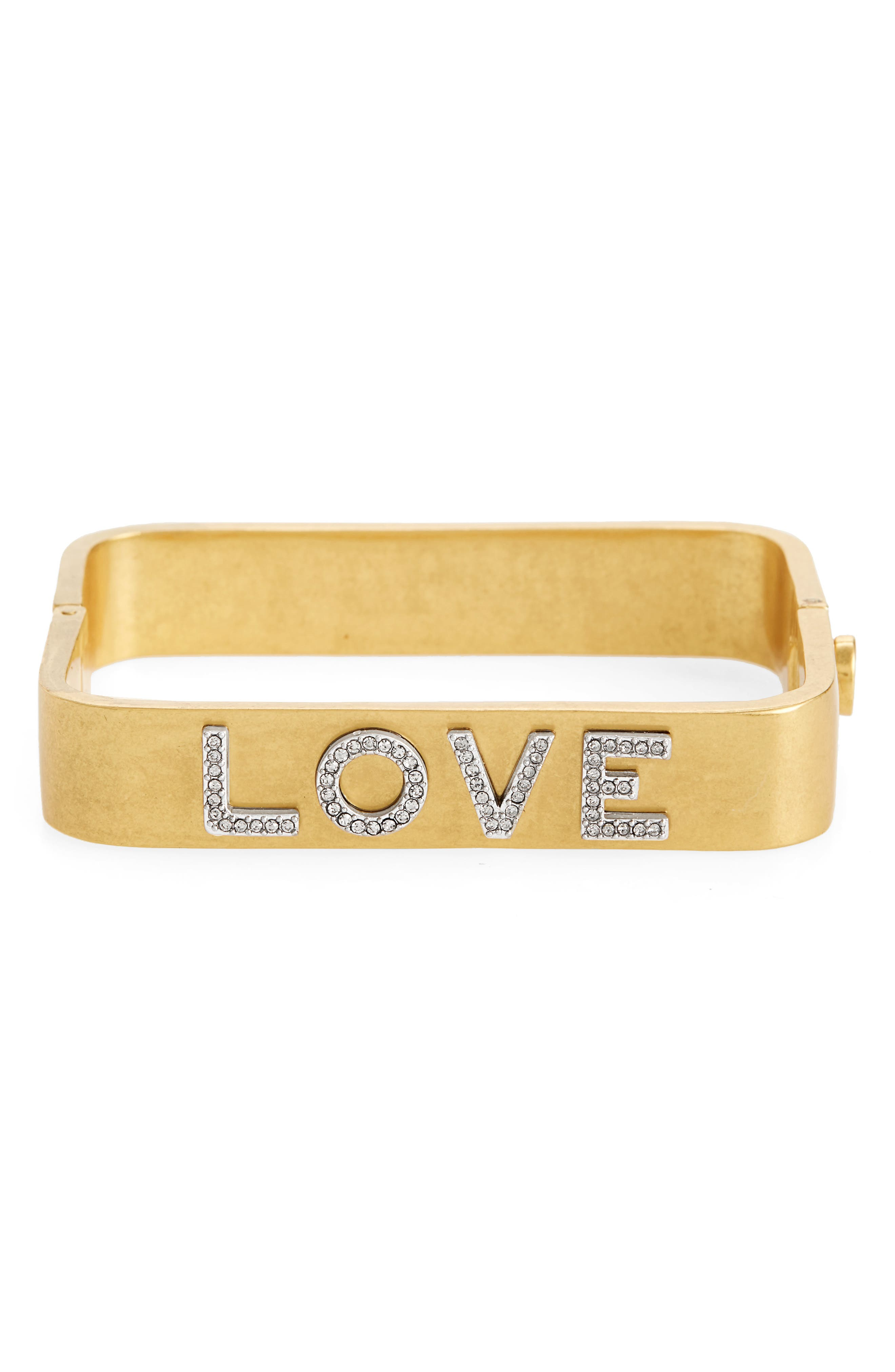 Love Message Rectangular Bracelet,                         Main,                         color, VINTAGE GOLD