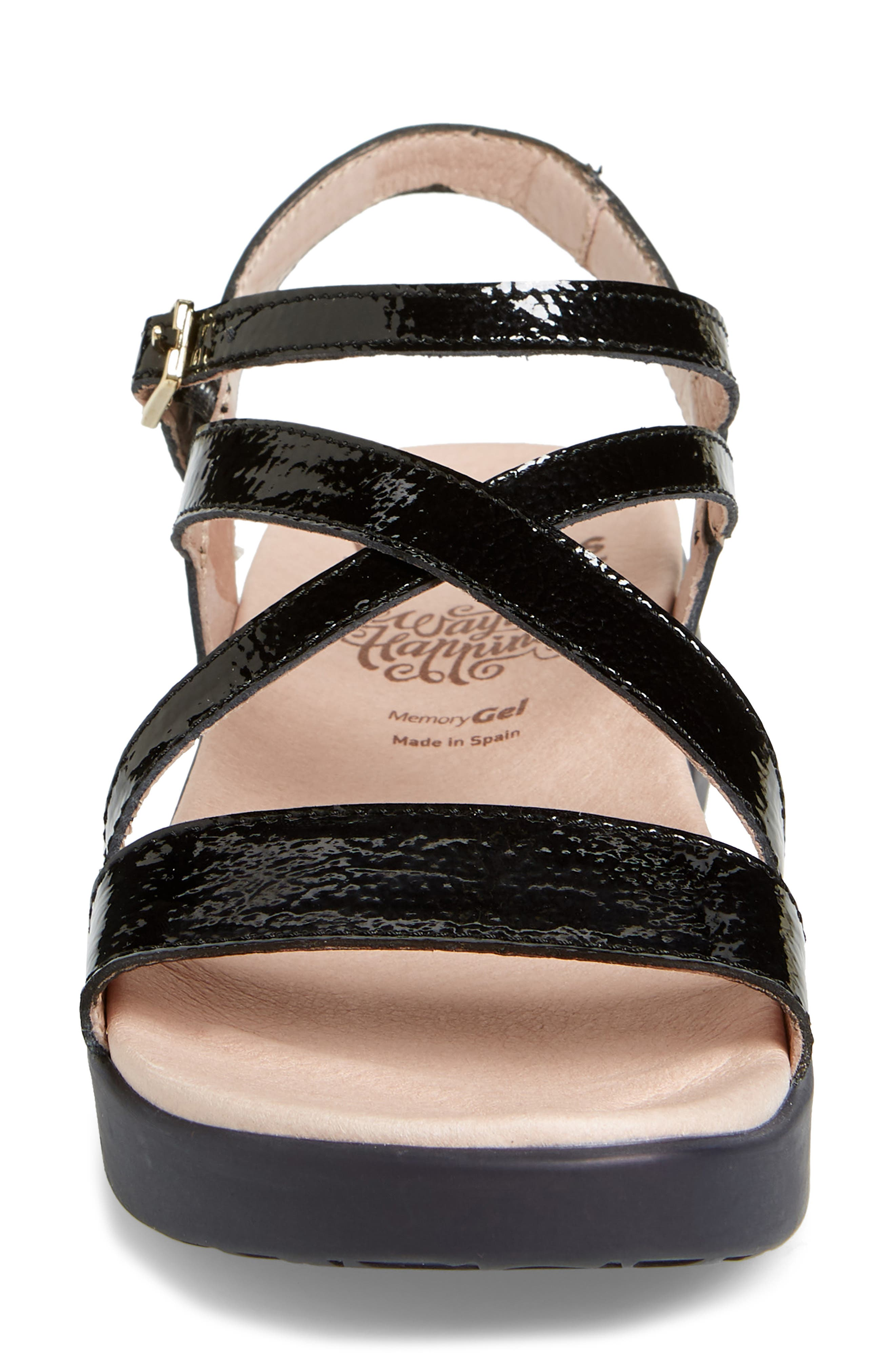 Wedge Sandal,                             Alternate thumbnail 4, color,                             BLACK PATENT LEATHER