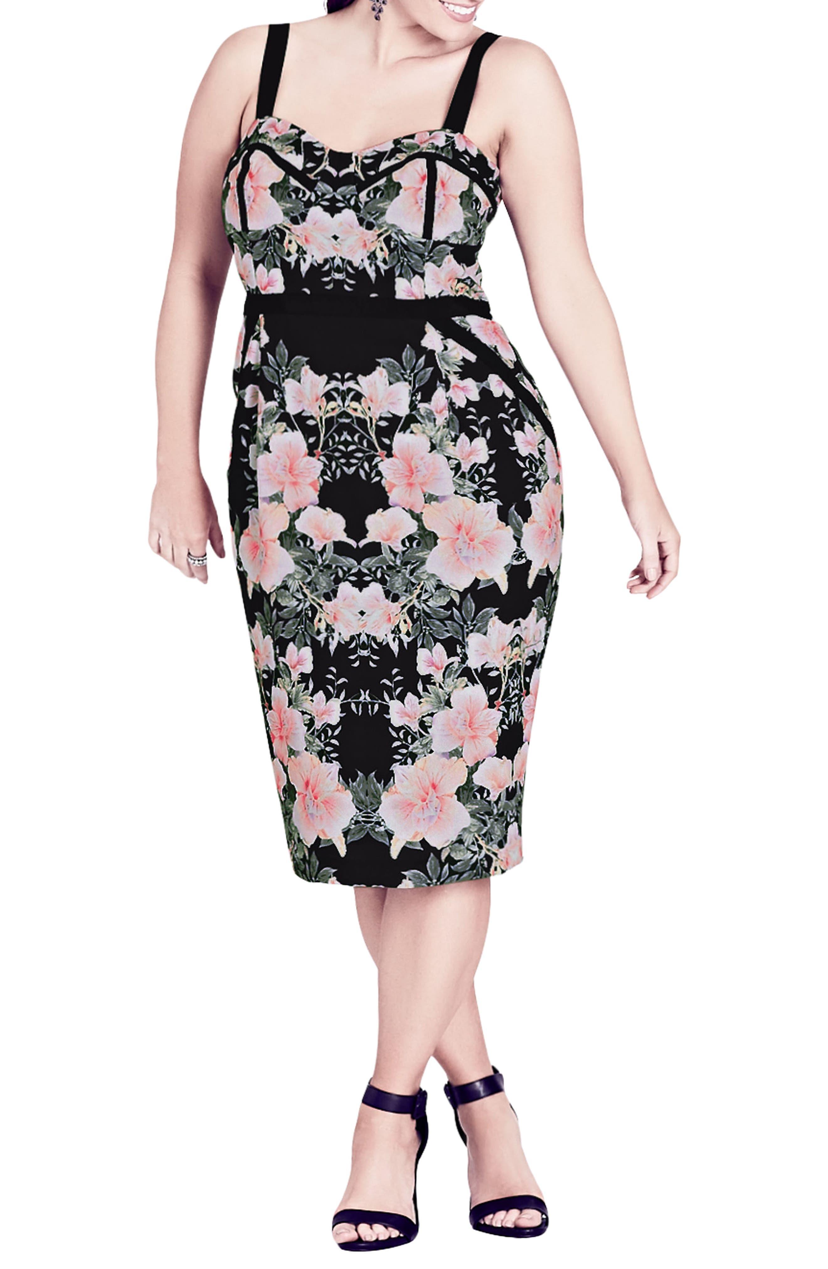 Impressions Floral Body-Con Dress,                             Main thumbnail 1, color,                             BLACK