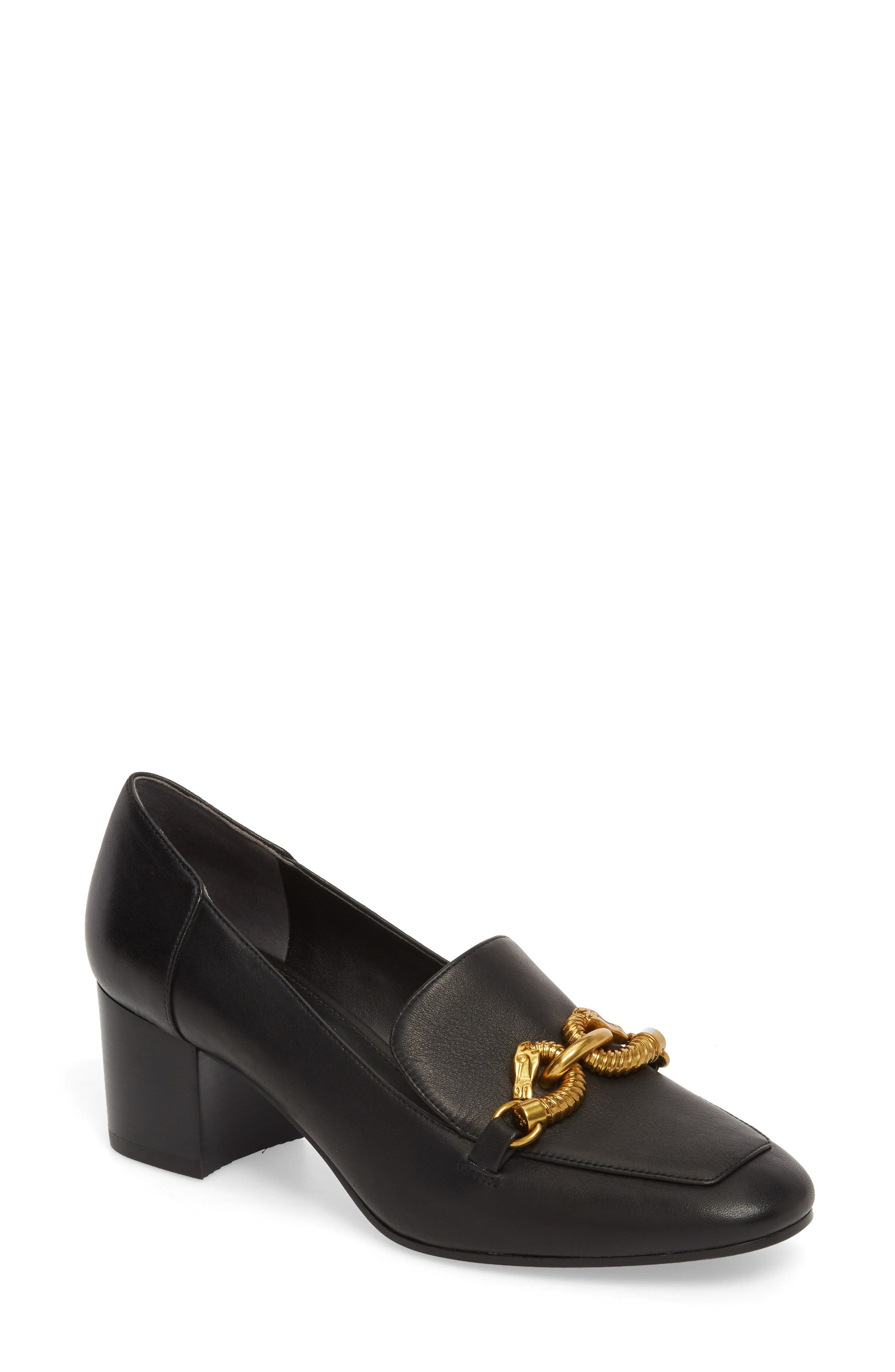 Jessa Horse Hardware Loafer Pump,                         Main,                         color, PERFECT BLACK
