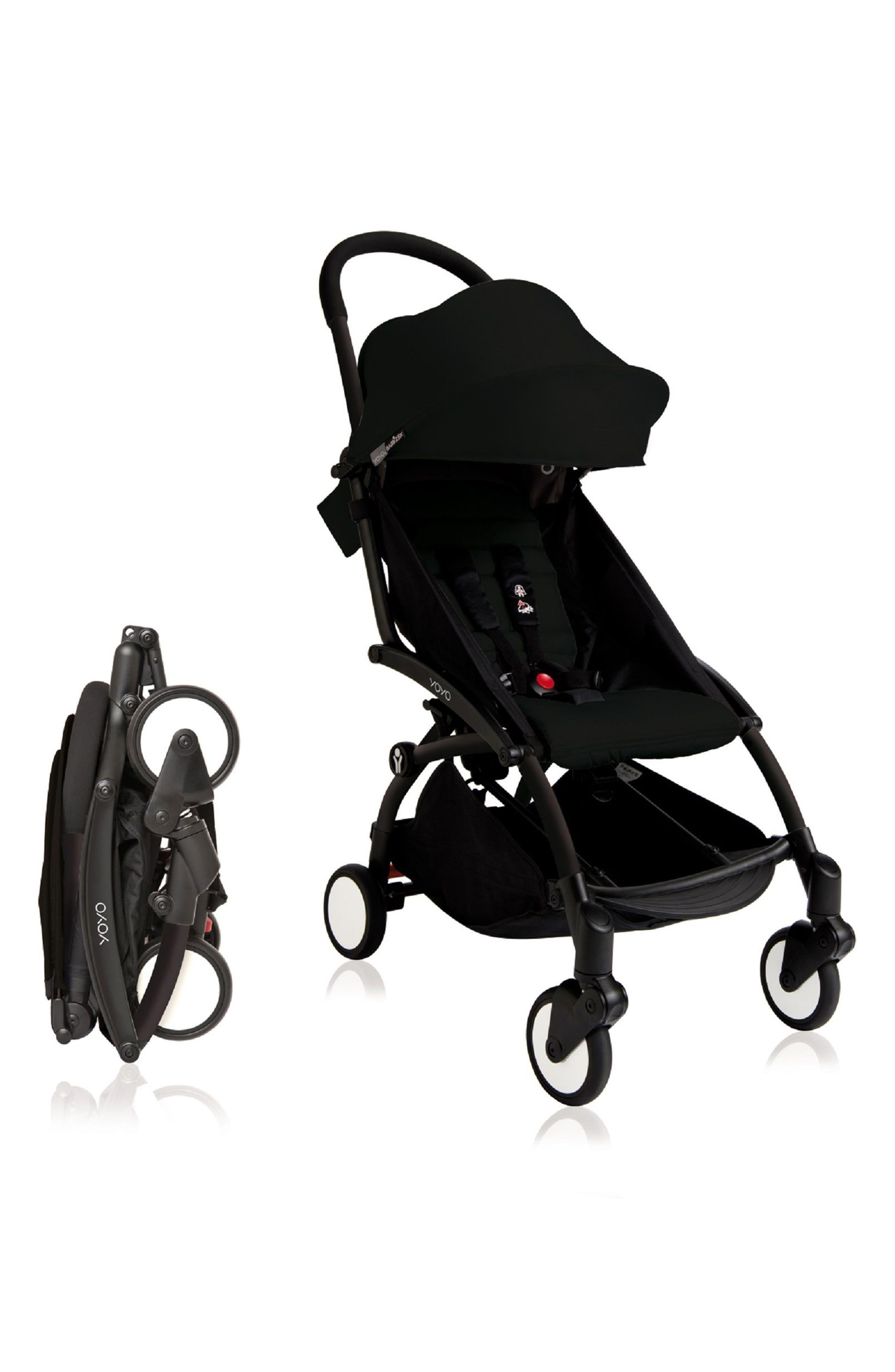 BABYZEN YOYO+ Complete Stroller with Toddler/Little Kid Color Pack Fabric Set,                         Main,                         color, BLACK/ BLACK
