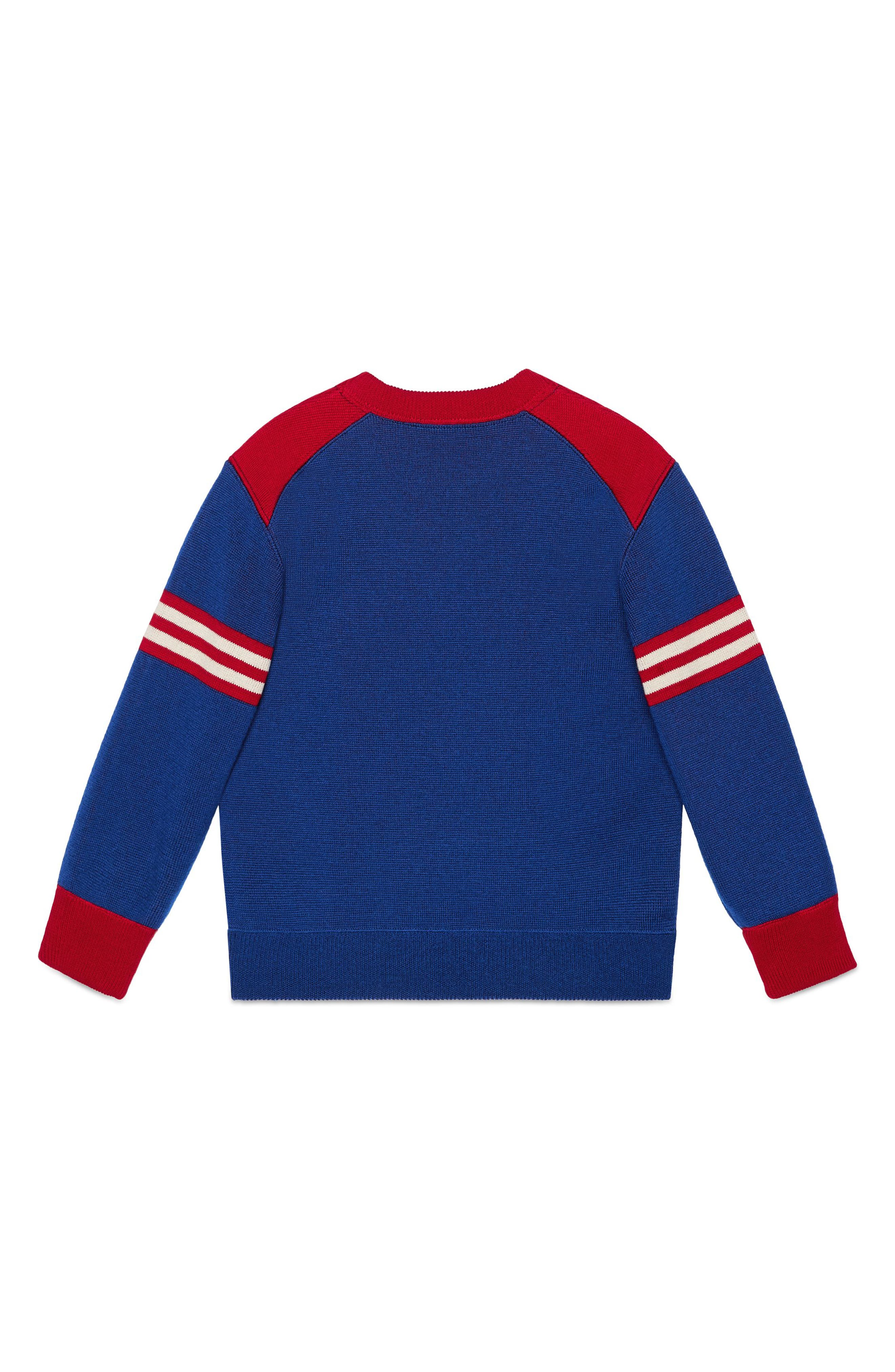 GUCCI,                             Embroidered Sweater,                             Alternate thumbnail 2, color,                             BLUE MULTI