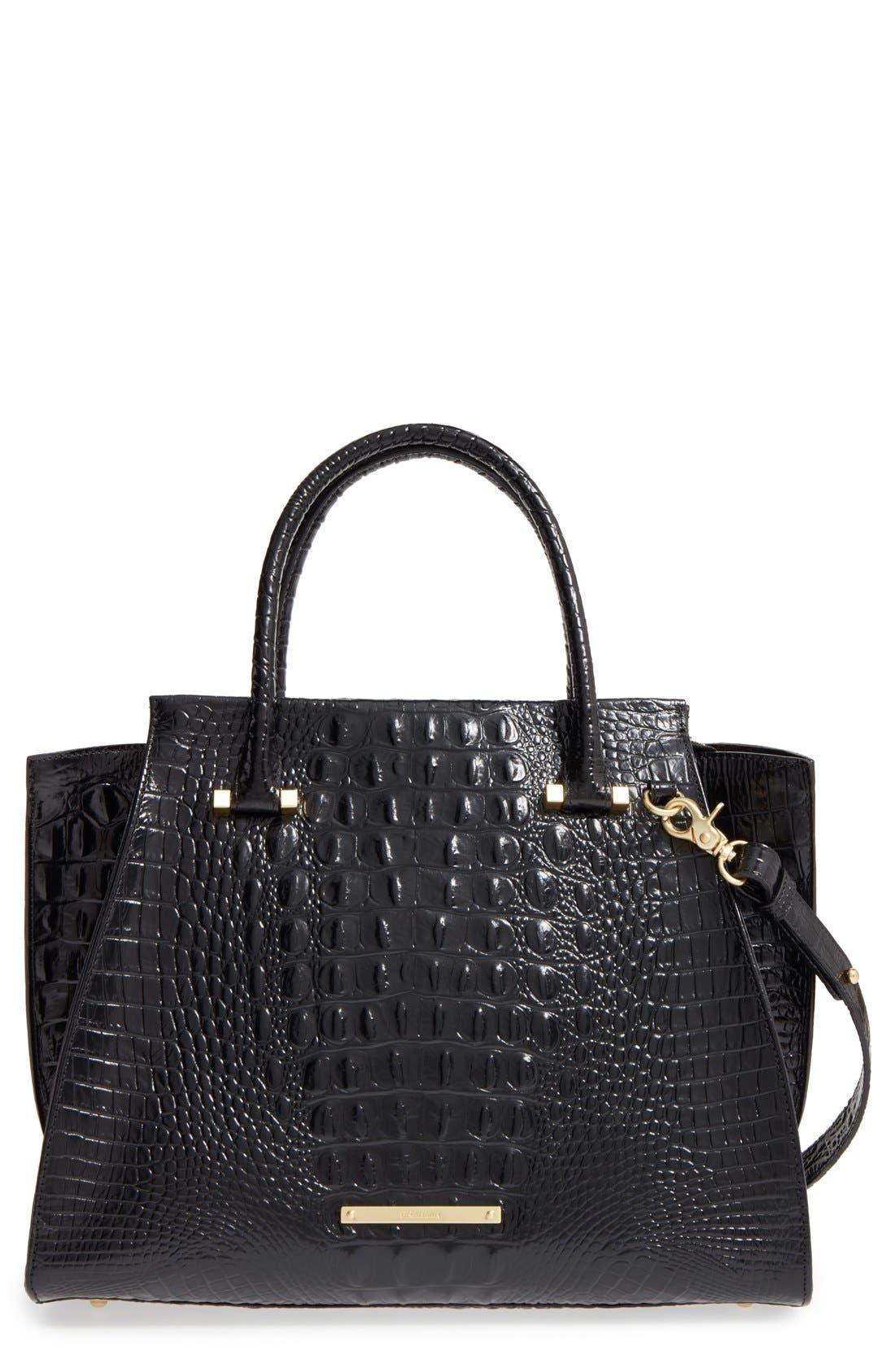 'Priscilla' Croc Embossed Leather Satchel,                             Main thumbnail 1, color,                             BLACK