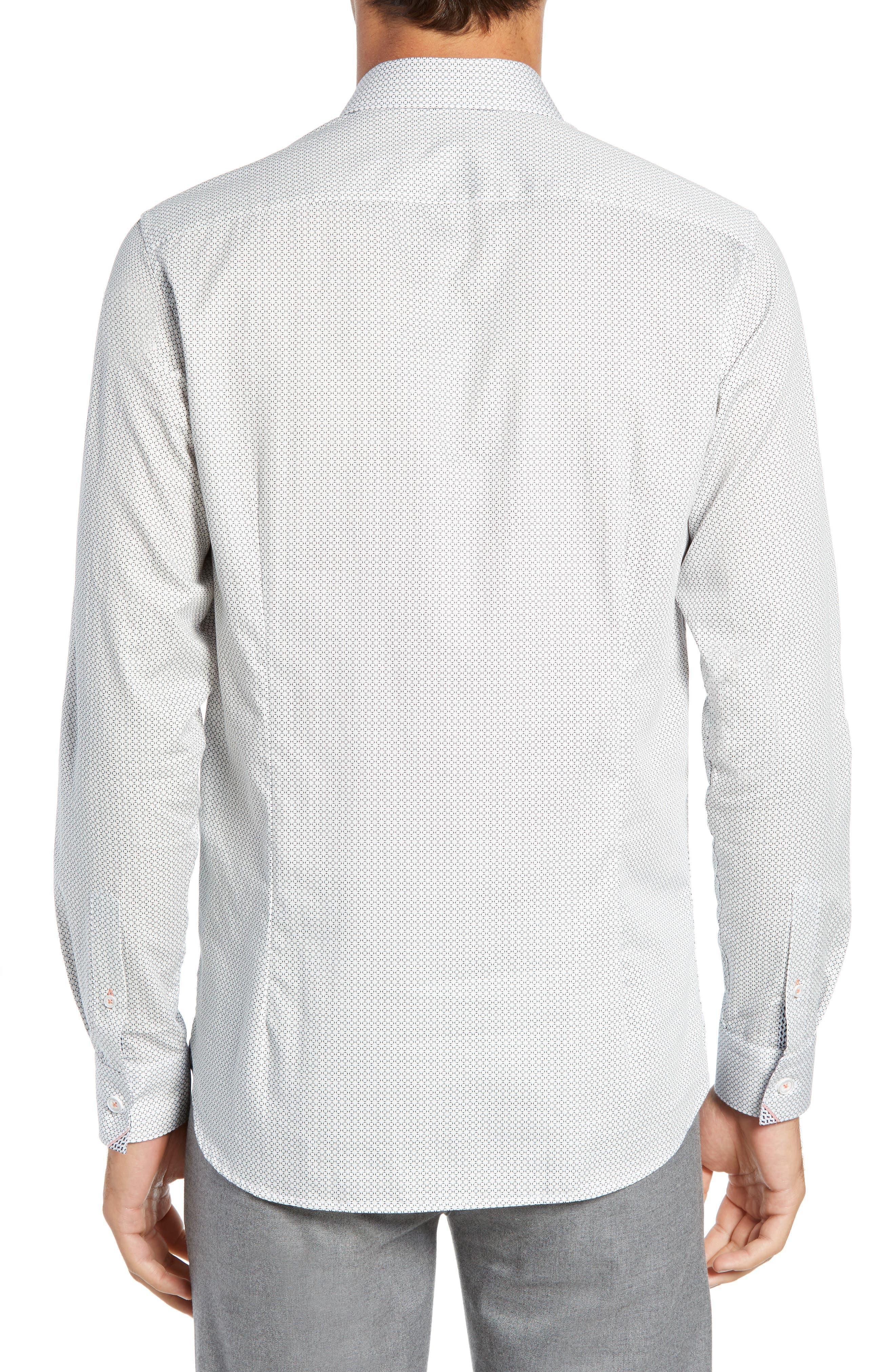 Jenkins Slim Fit Geometric Sport Shirt,                             Alternate thumbnail 3, color,                             WHITE